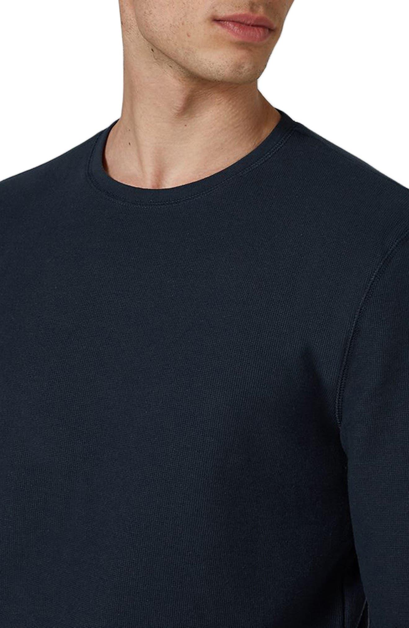Waffle Knit Long Sleeve T-Shirt,                             Alternate thumbnail 3, color,                             Dark Blue