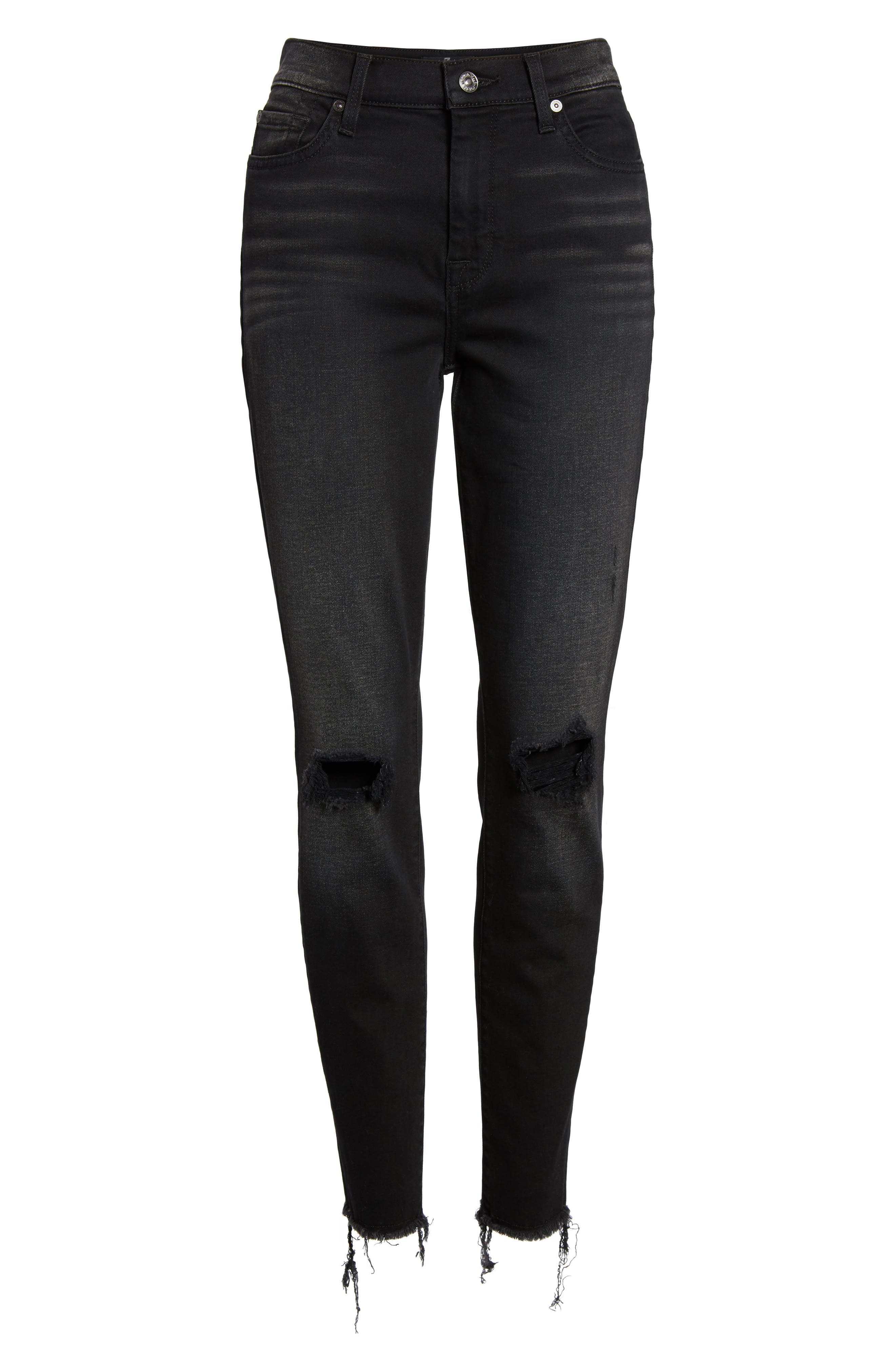 Alternate Image 6  - 7 For All Mankind® Aubrey High Waist Skinny Jeans (Aged Onyx 3)