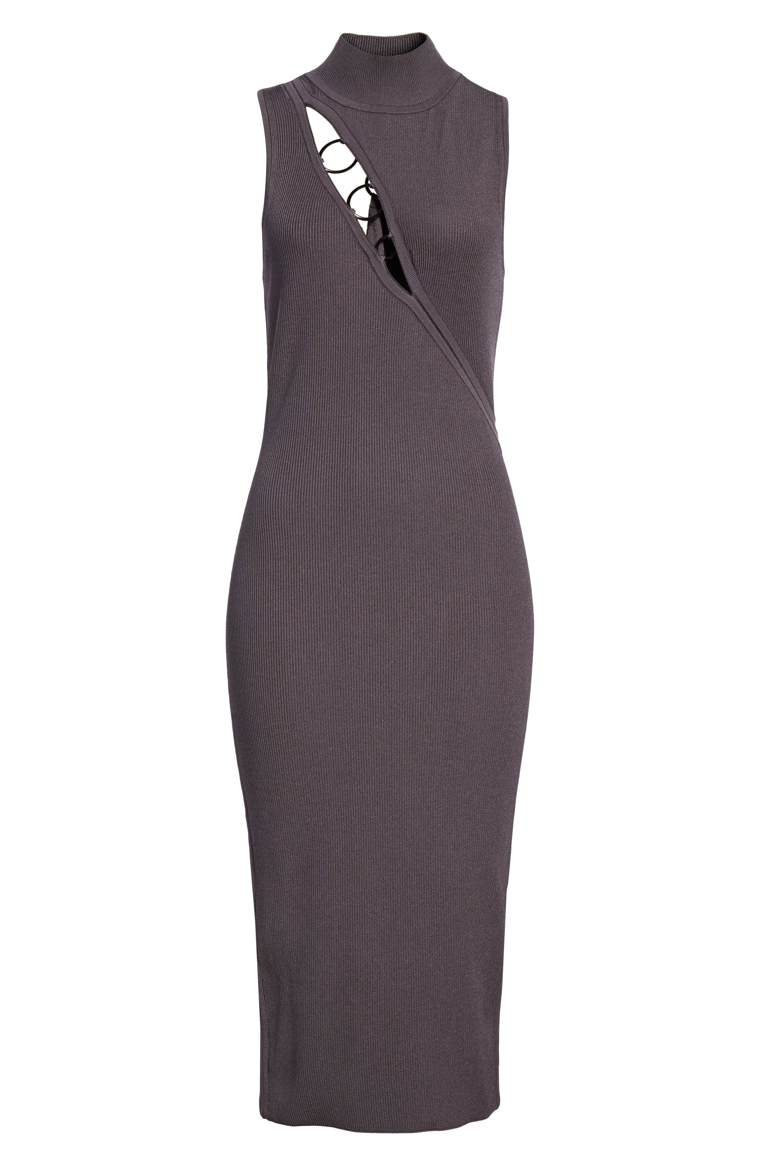 Alsia Cutout Knit Dress,                             Alternate thumbnail 7, color,                             Graphite/ Gunmetal