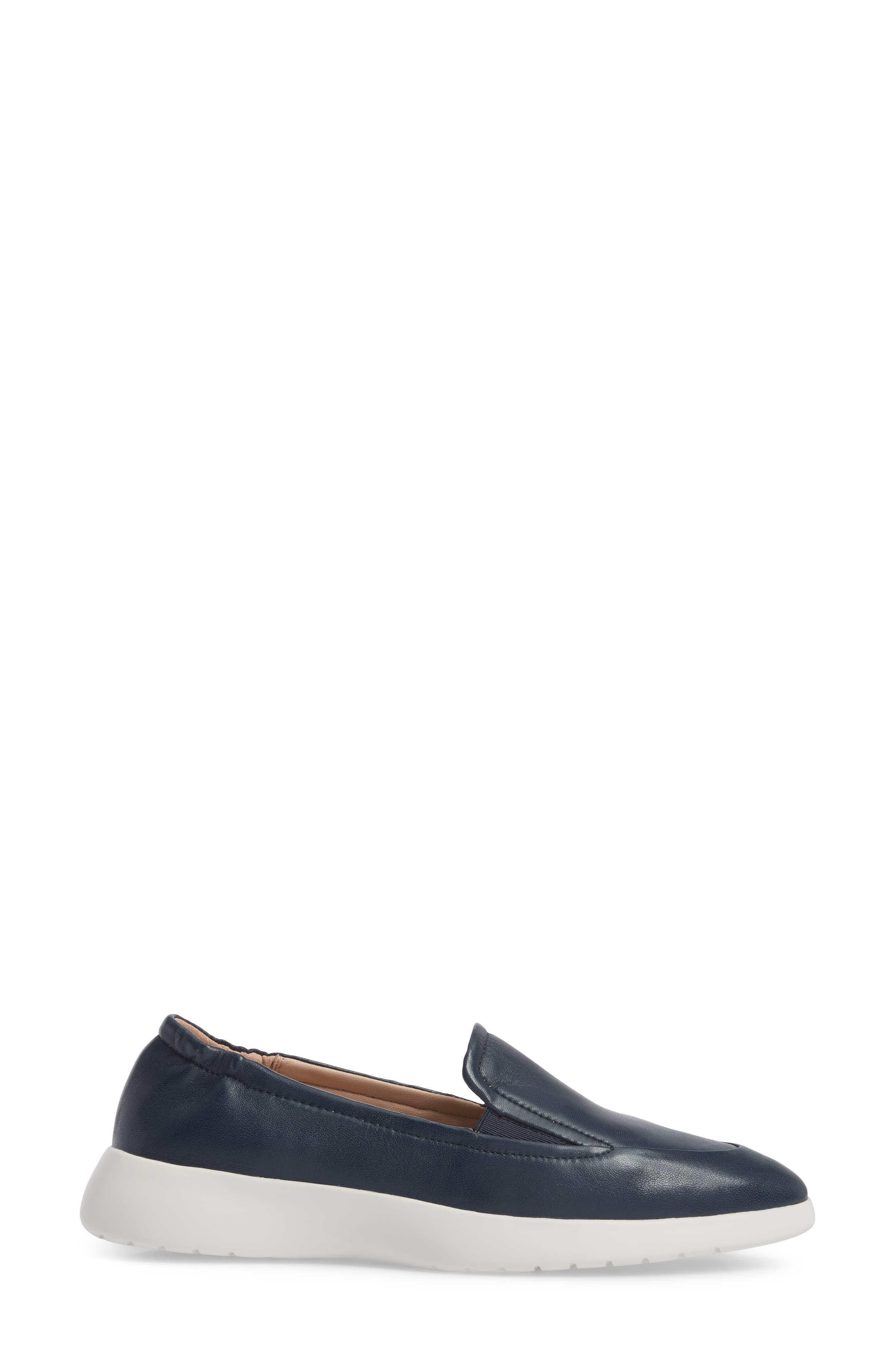 Dana Loafer Sneaker,                             Alternate thumbnail 3, color,                             Navy Leather