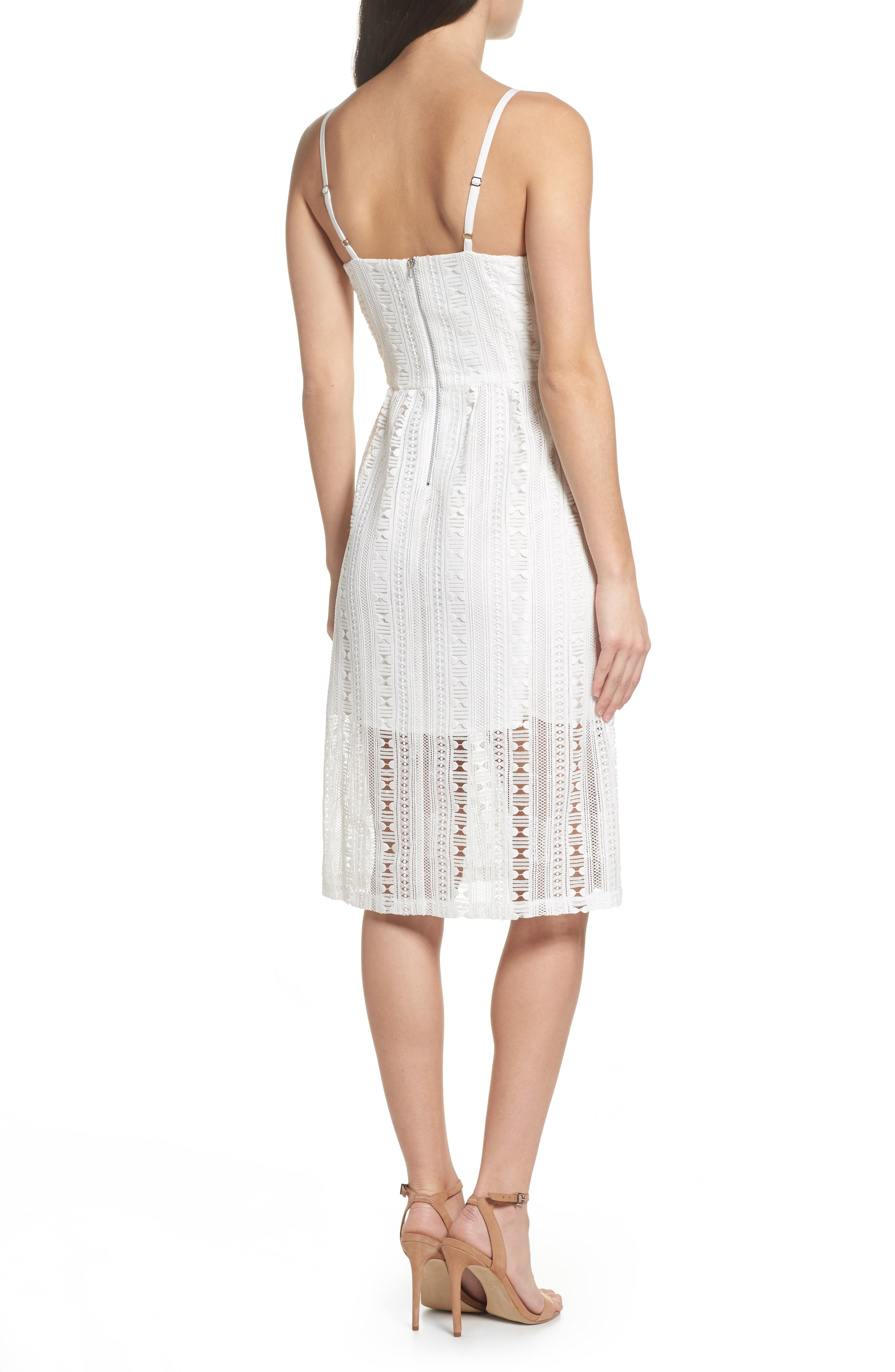 Belissimo Lace Fit & Flare Midi Dress,                             Alternate thumbnail 3, color,                             White