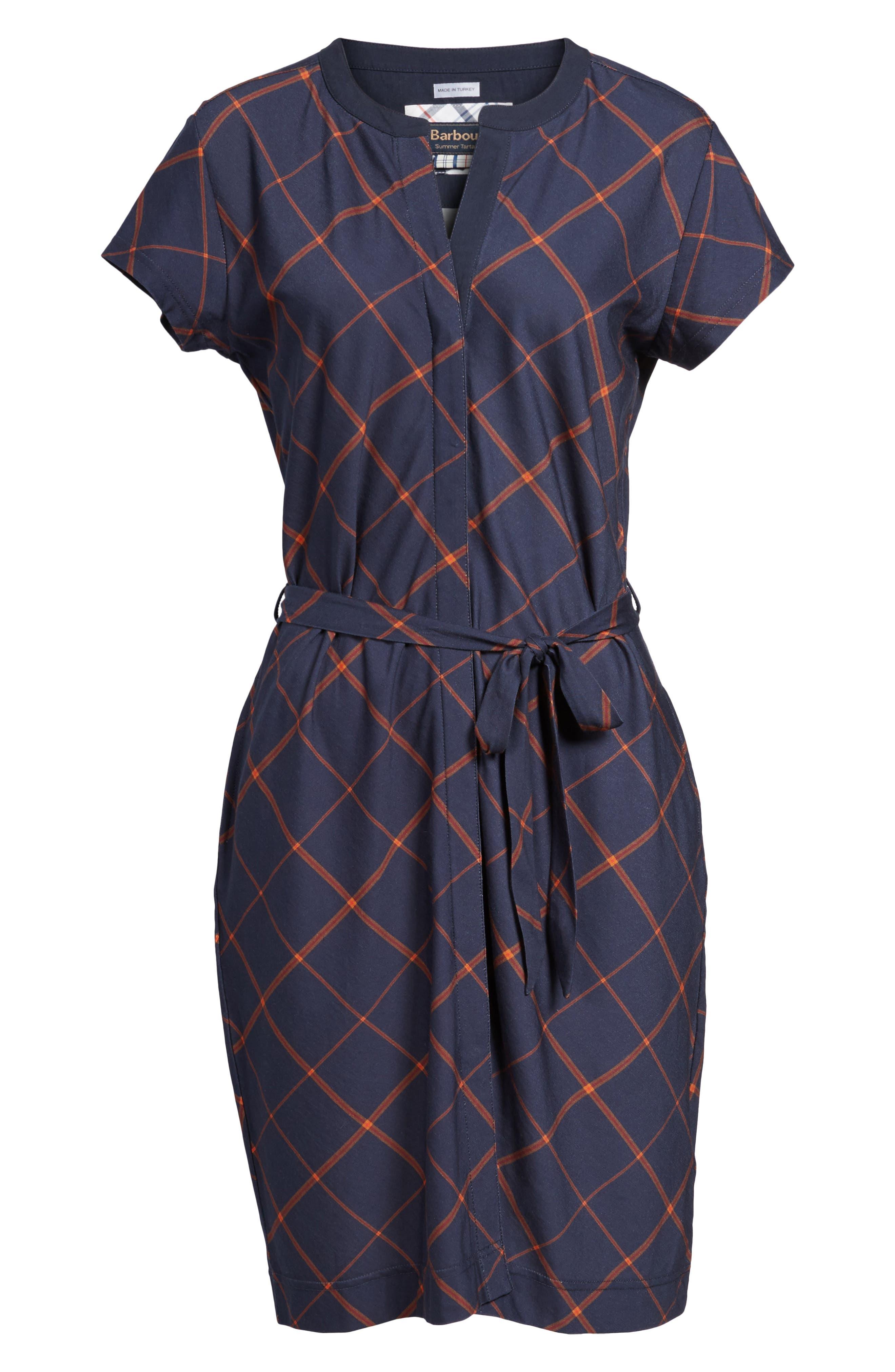 Glenrothes Windowpane Plaid Dress,                             Alternate thumbnail 6, color,                             Navy Check