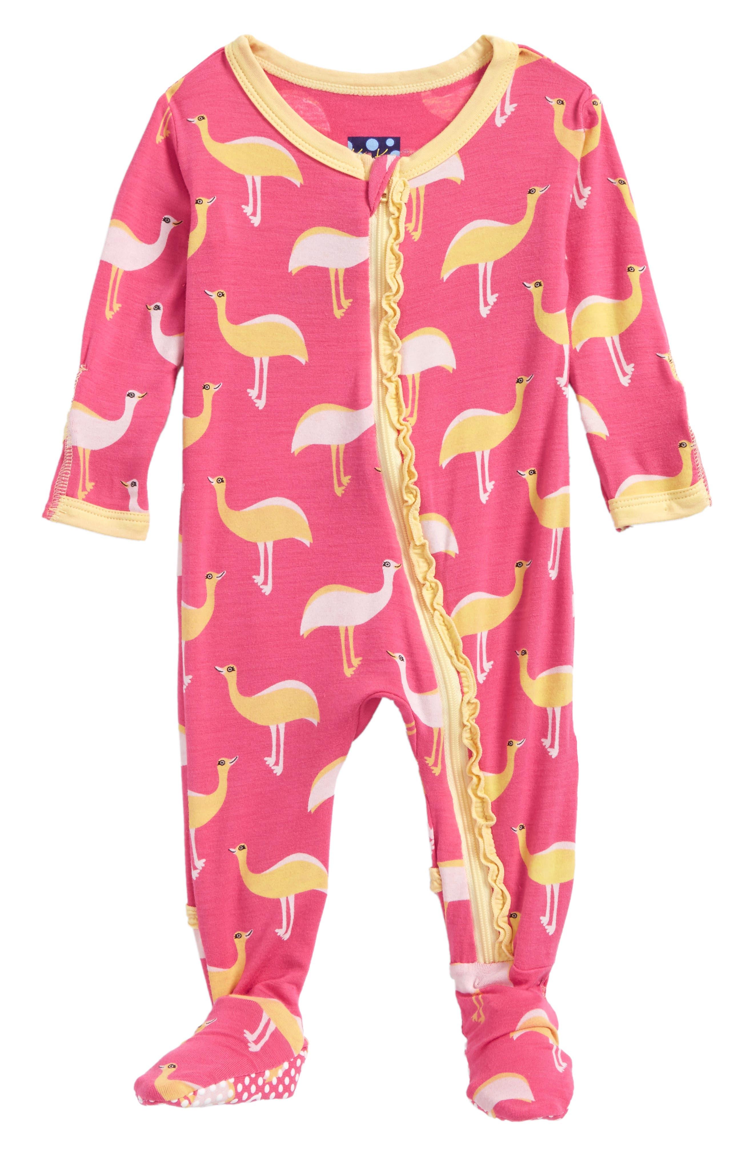 Print One-Piece Footie,                         Main,                         color, Flamingo Emu
