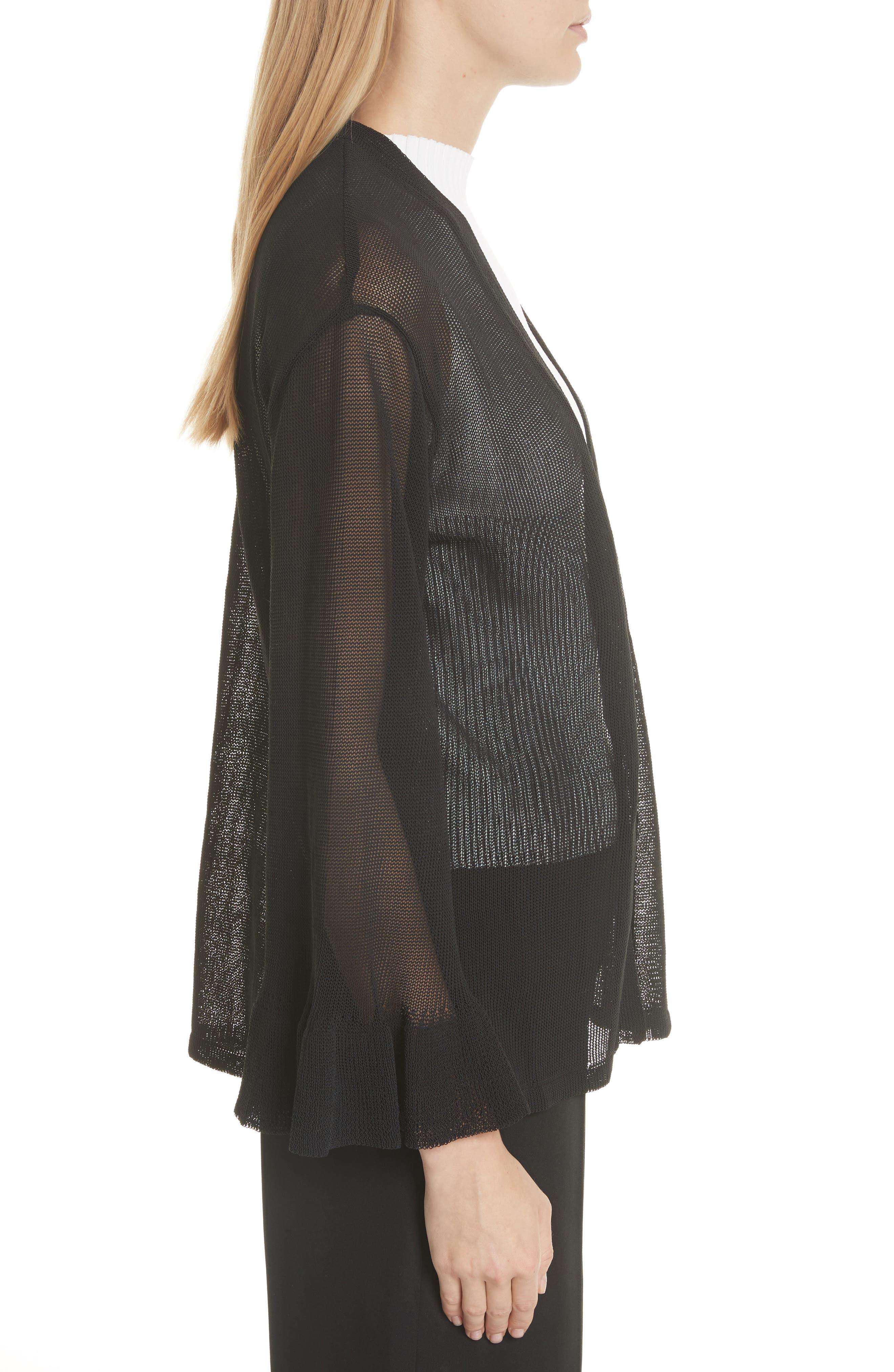 Ruffle Sleeve Italian Mesh Cardigan,                             Alternate thumbnail 3, color,                             Black