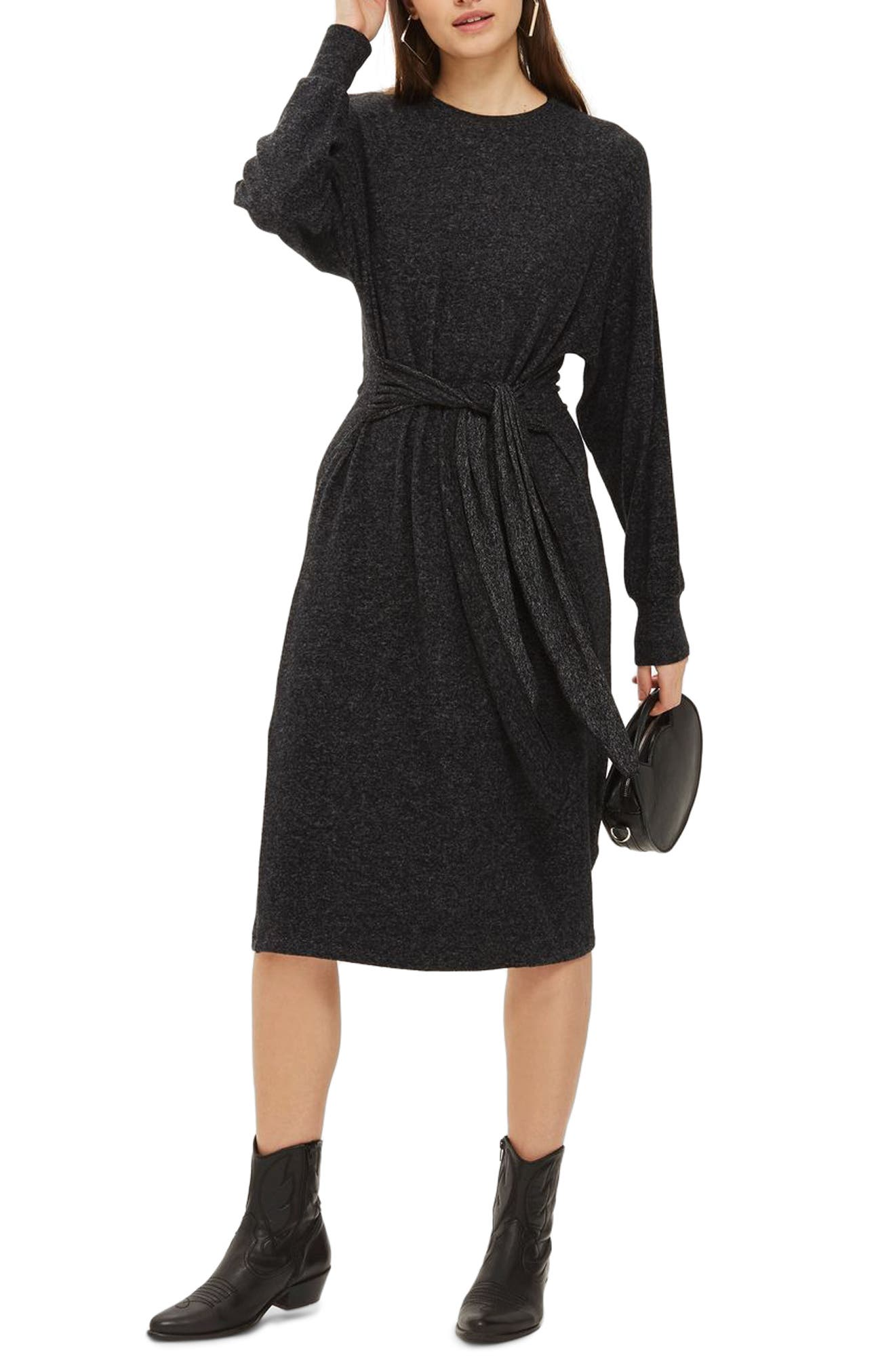 Cut and Sew Sweater Dress,                             Main thumbnail 1, color,                             Charcoal