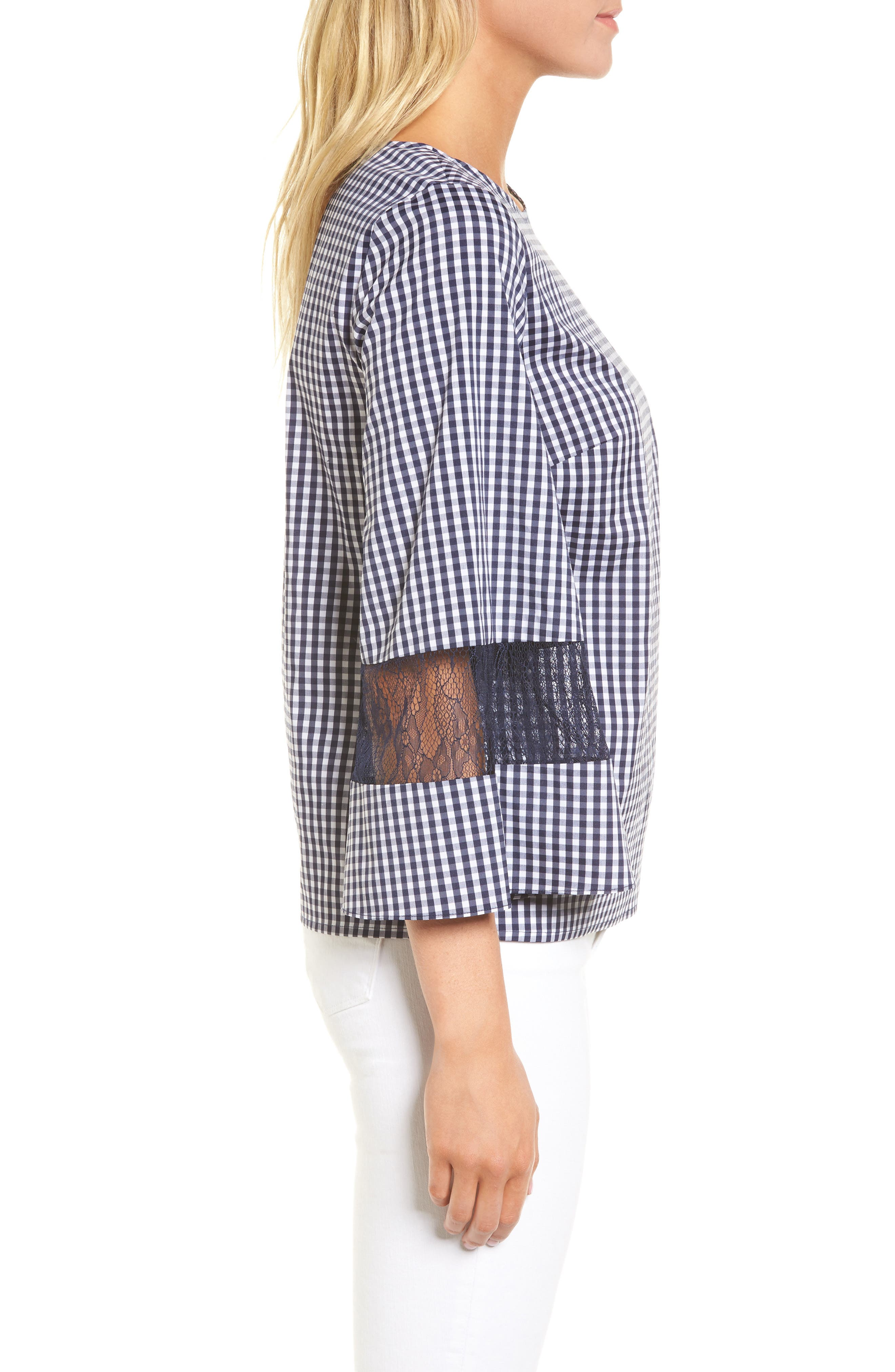 Gingham & Lace Blouse,                             Alternate thumbnail 3, color,                             Navy Evening- White Gingham