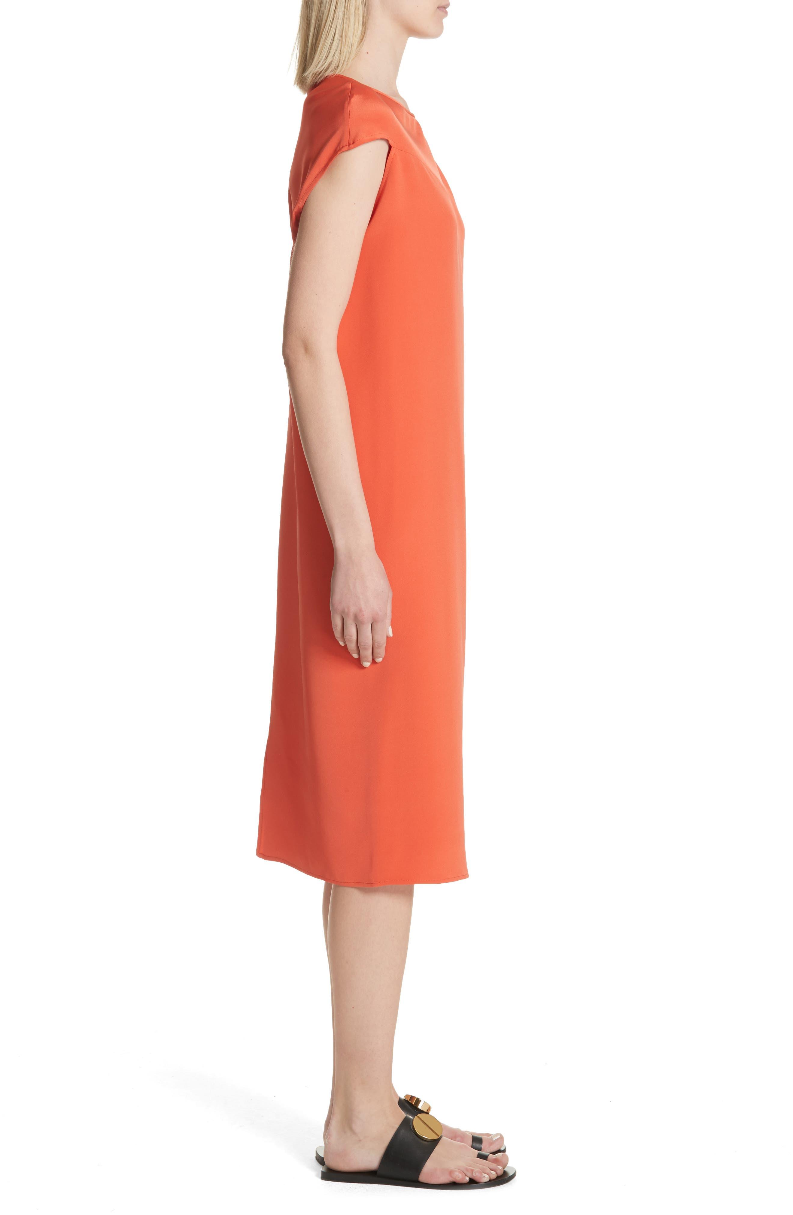 Twist Detail Silk Dress,                             Alternate thumbnail 3, color,                             Persimmon Orange