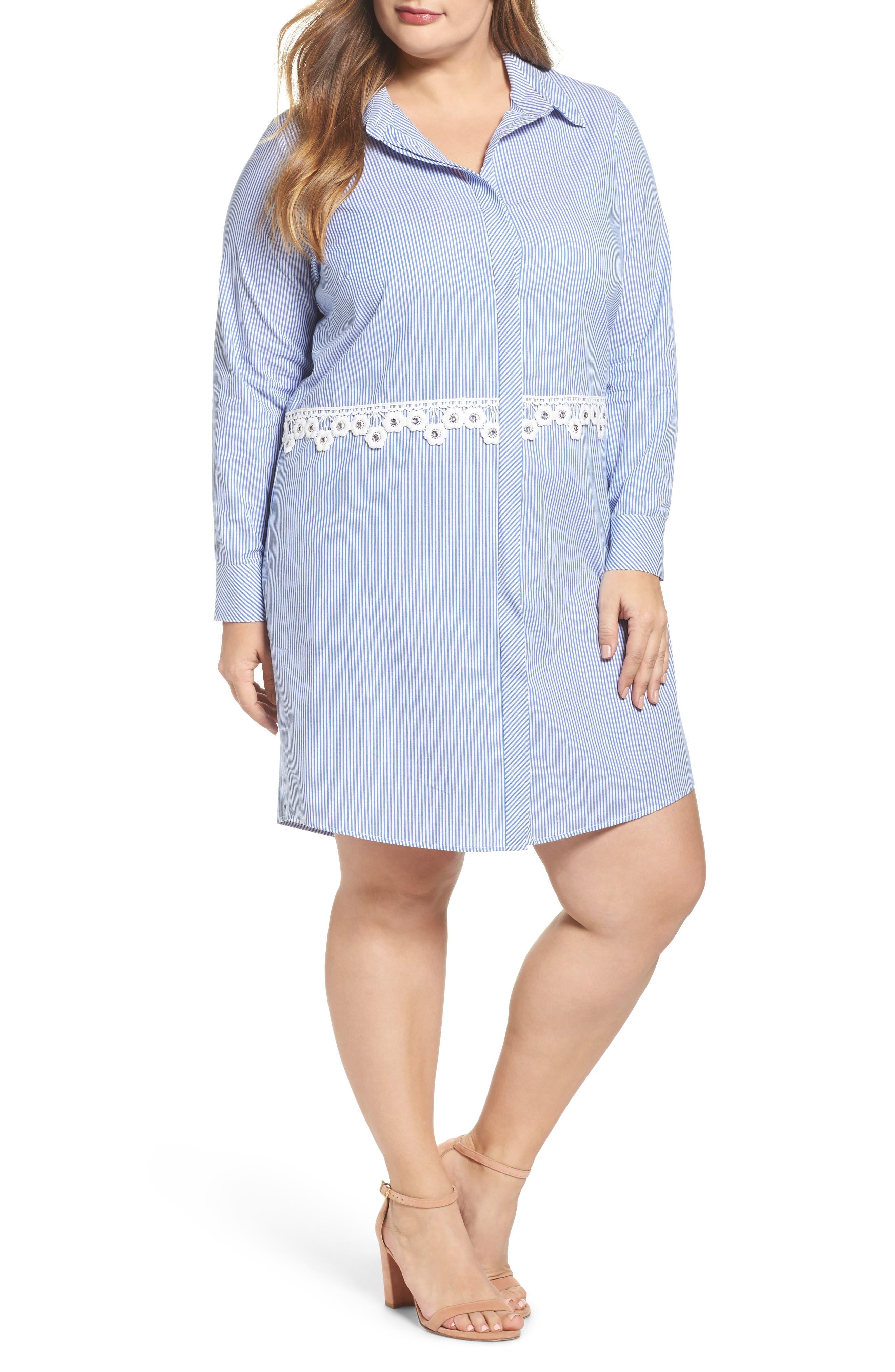 Flower Waist Stripe Shirtdress,                             Main thumbnail 1, color,                             Blue White Stripe