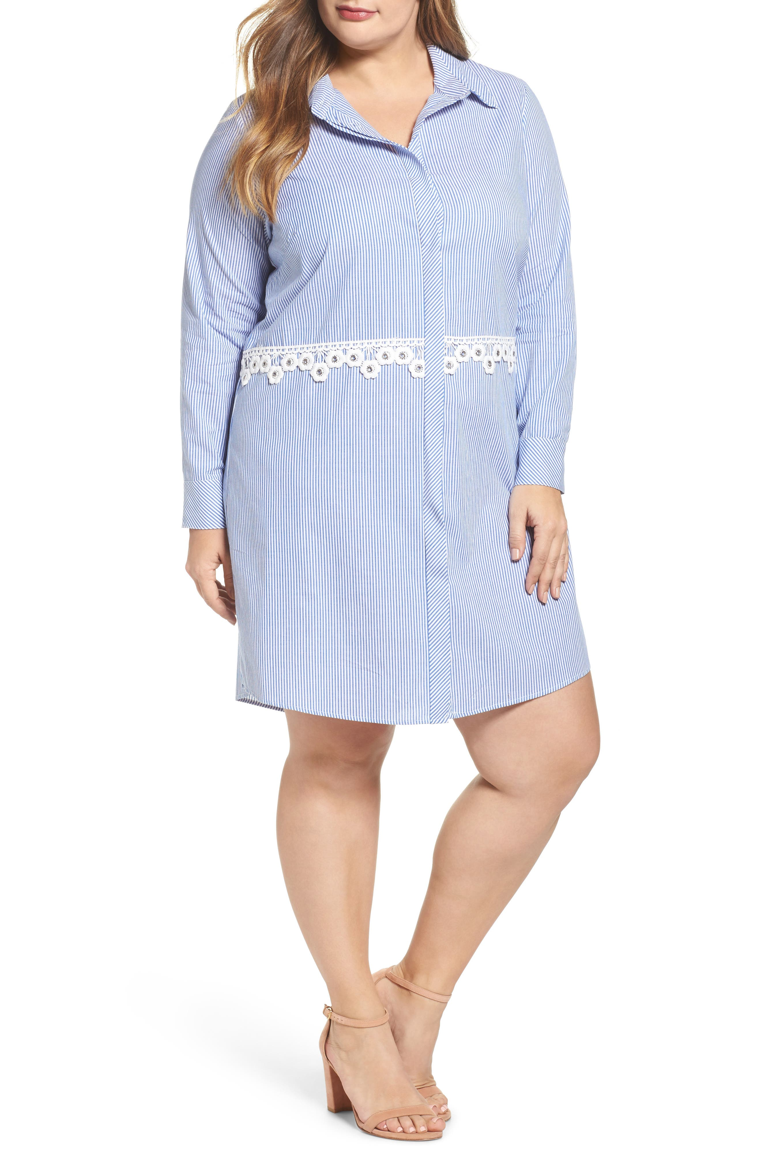 Glamorous Flower Waist Stripe Shirtdress (Plus Size)
