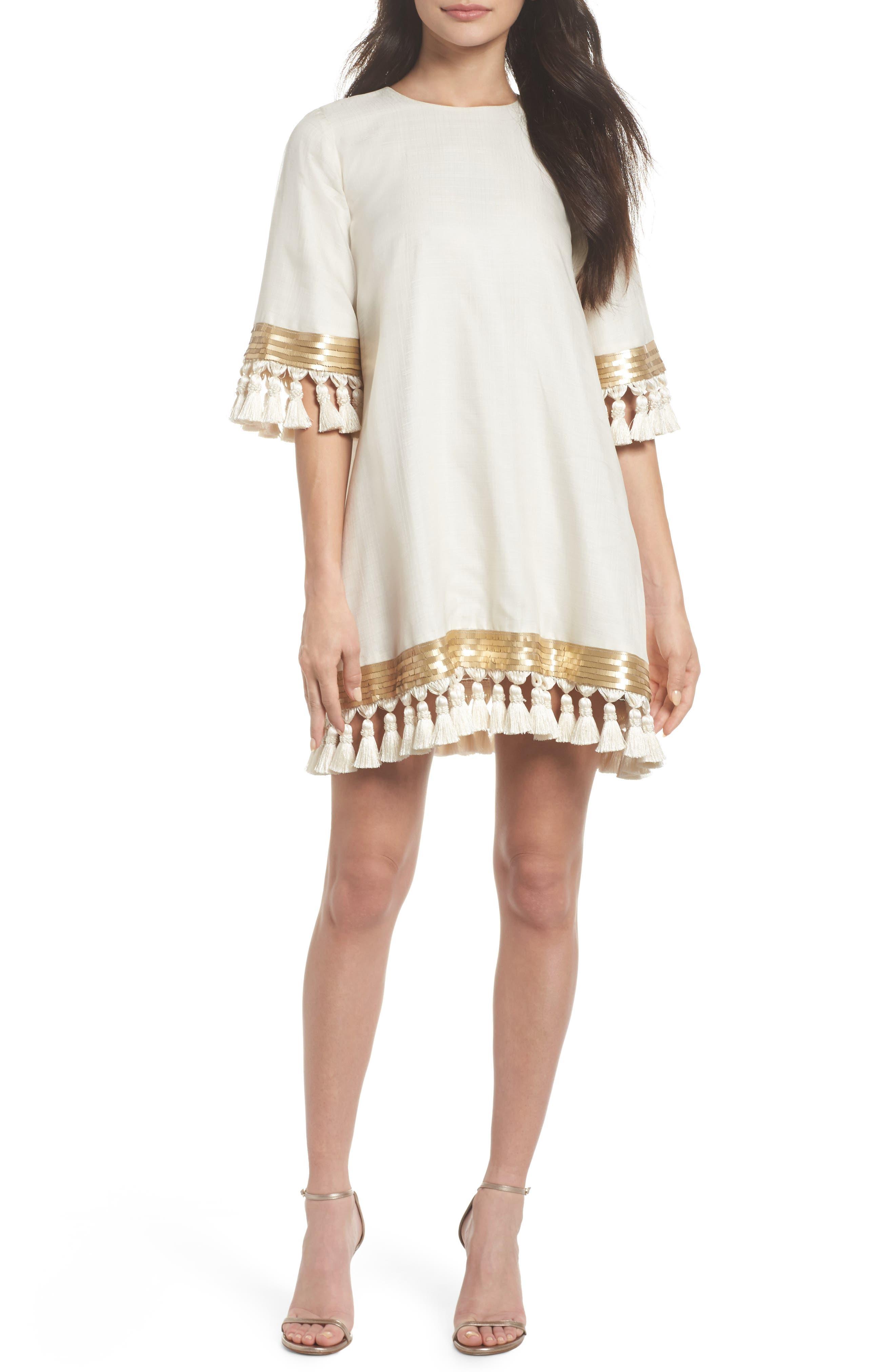 Mestiza Shimmy Shimmy Silk Tassel Shift Dress,                         Main,                         color, Ivory