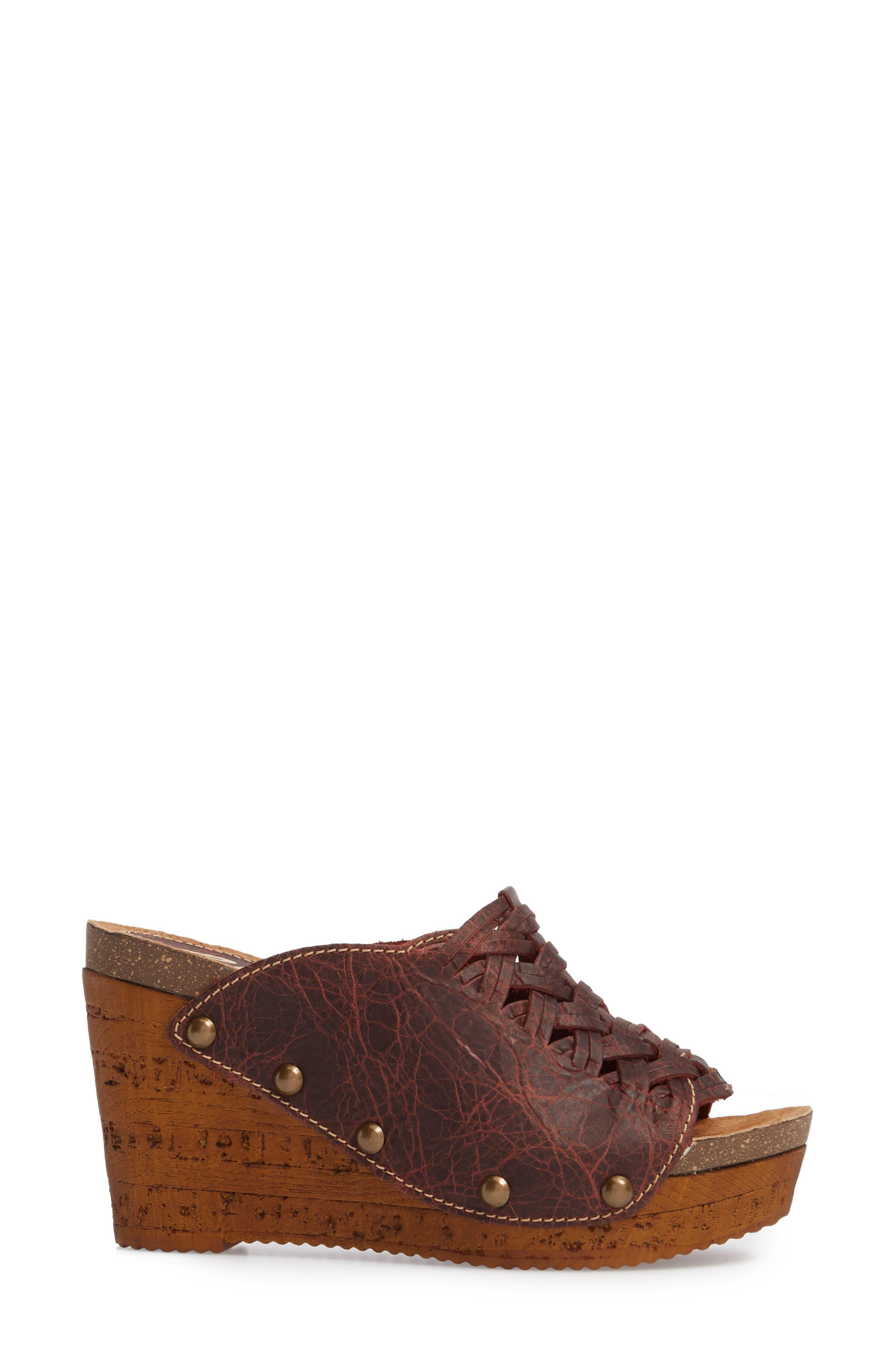 Genesis Platform Wedge Sandal,                             Alternate thumbnail 3, color,                             Wine