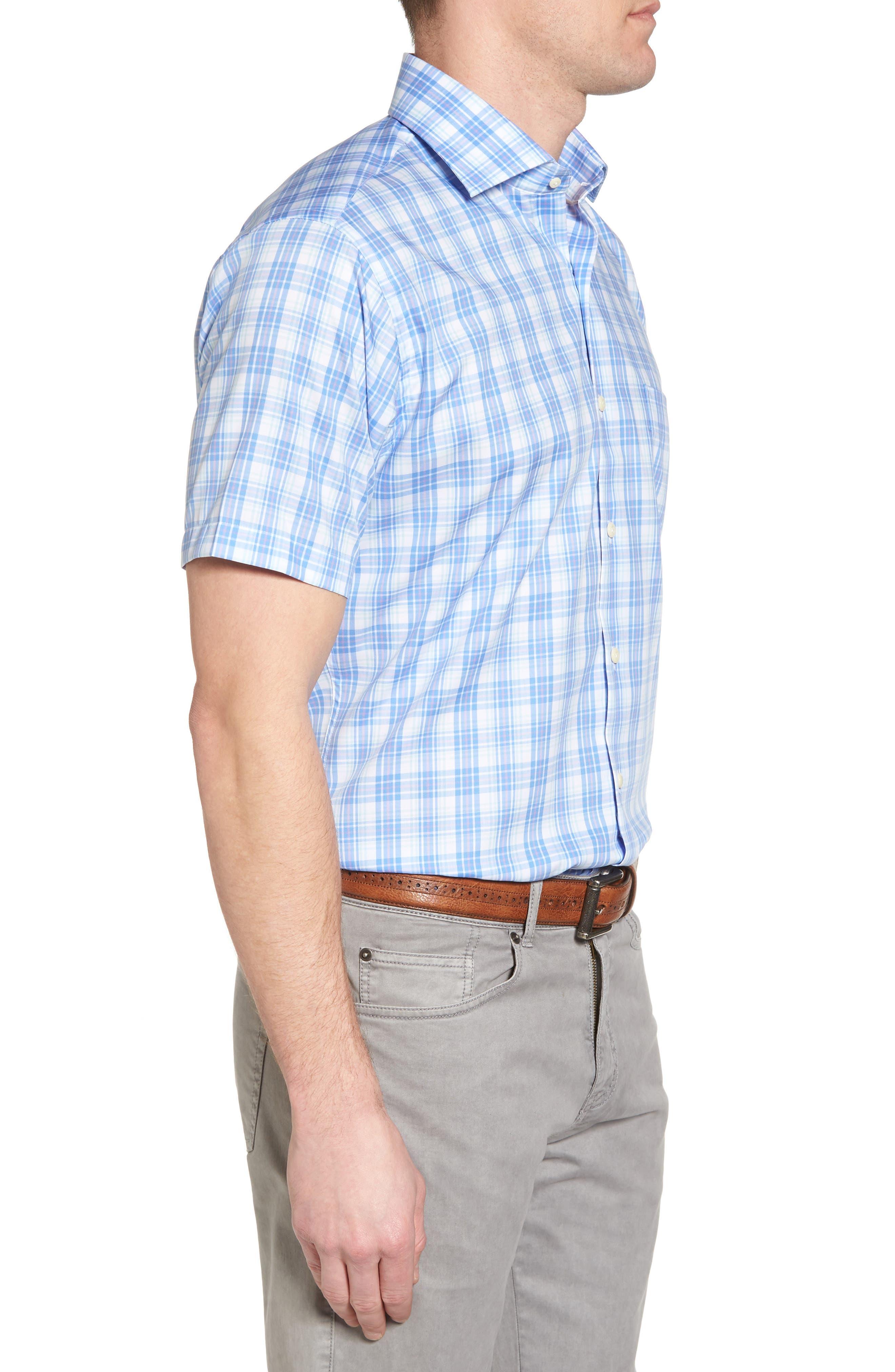 Crown Ease Sloan Regular Fit Plaid Sport Shirt,                             Alternate thumbnail 3, color,                             Atlas Blue