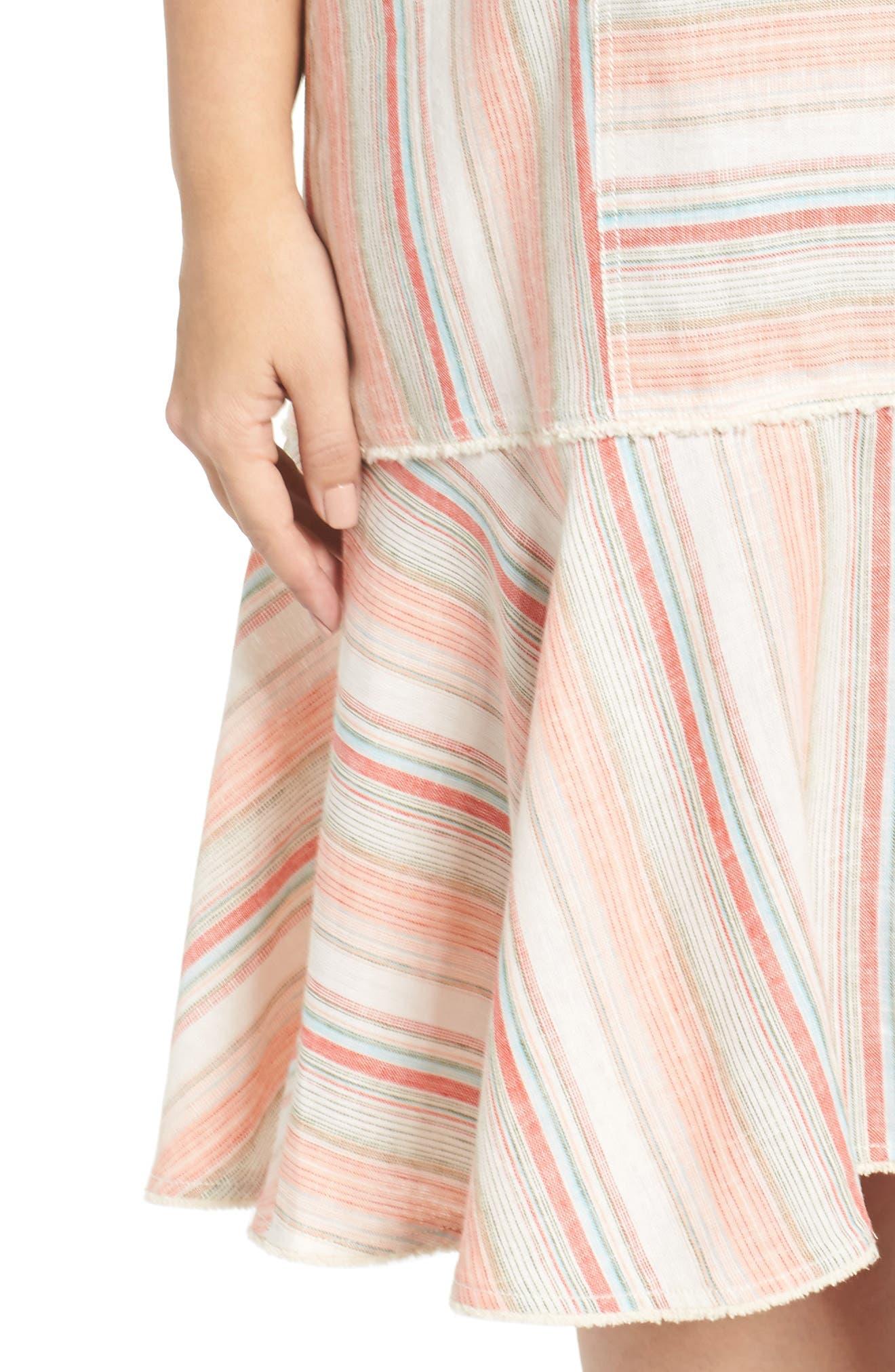 Raw Edge Stripe Linen Blend Dress,                             Alternate thumbnail 4, color,                             Coral Stripe