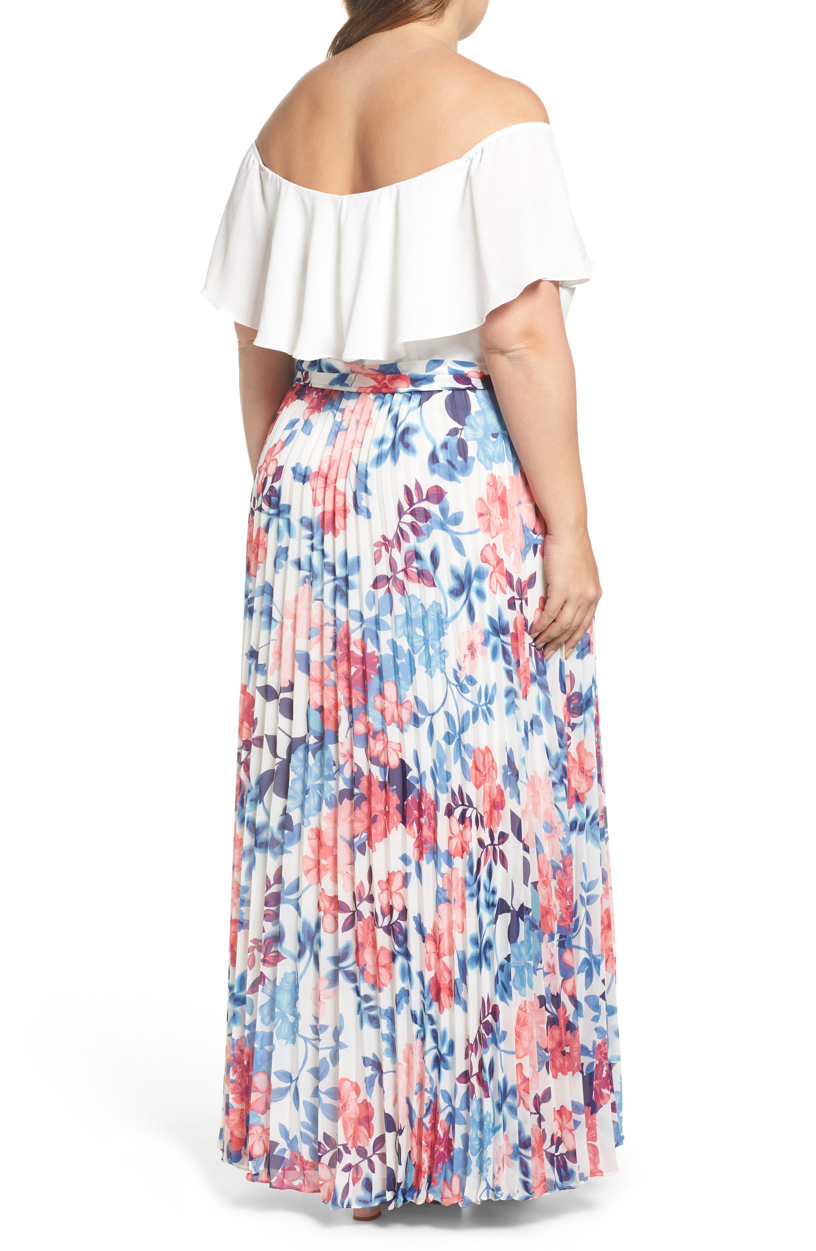 Off the Shoulder Maxi Dress,                             Alternate thumbnail 2, color,                             Ivory Blue
