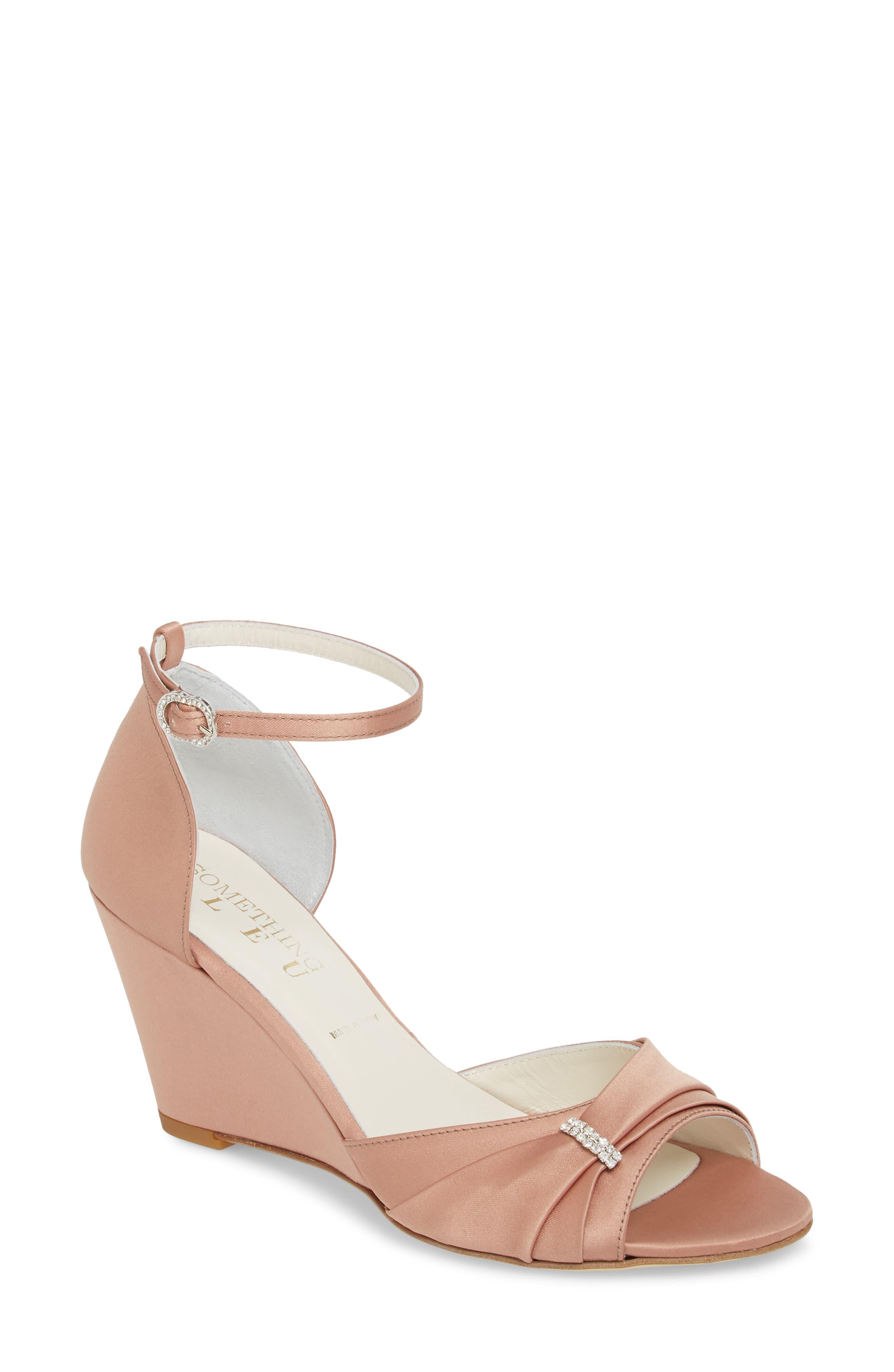 Queenie Ankle Strap Wedge Sandal,                         Main,                         color, Blush Satin
