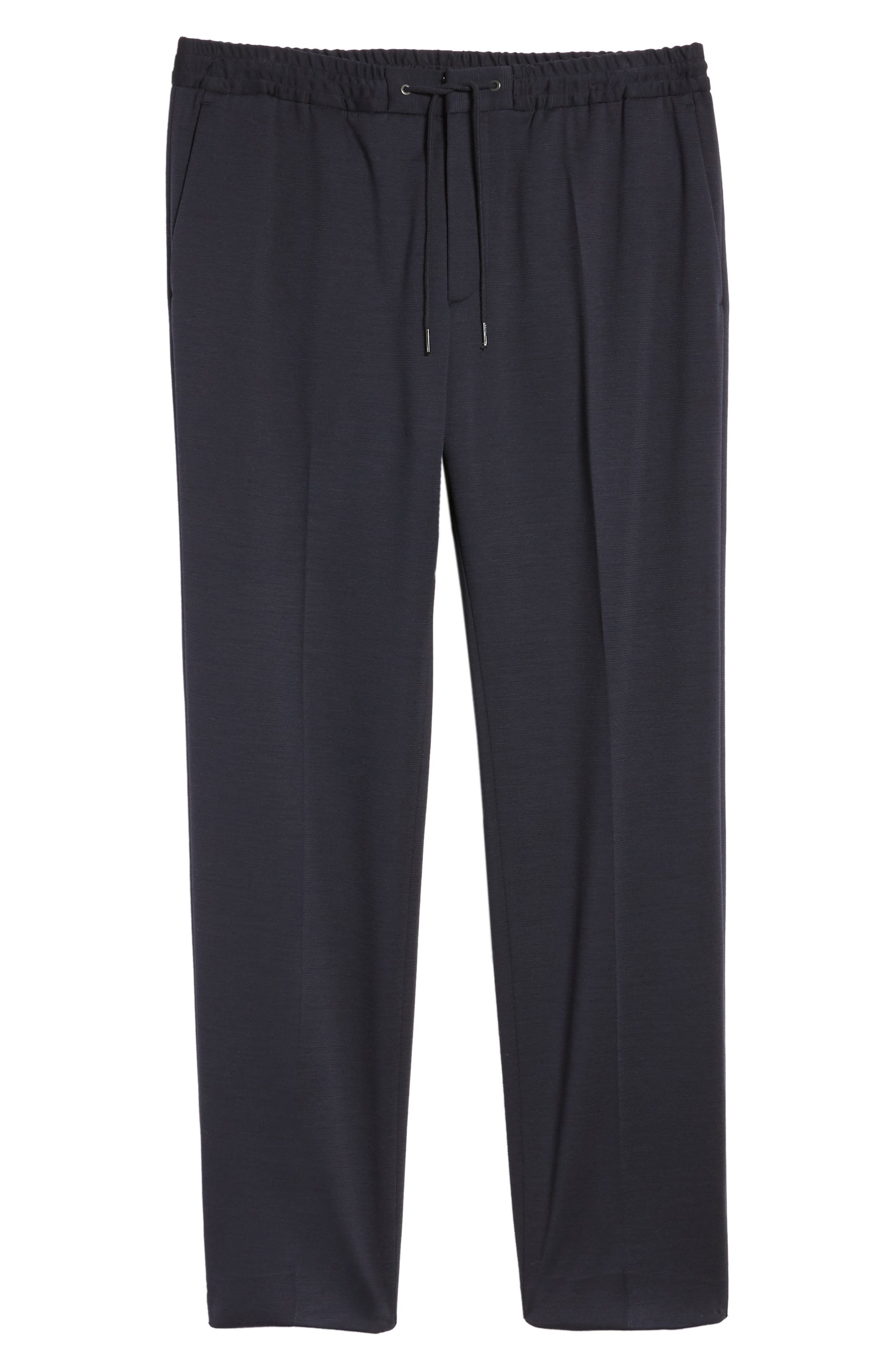 Banks Flat Front Trim Fit Wool Blend Trousers,                             Alternate thumbnail 6, color,                             Navy