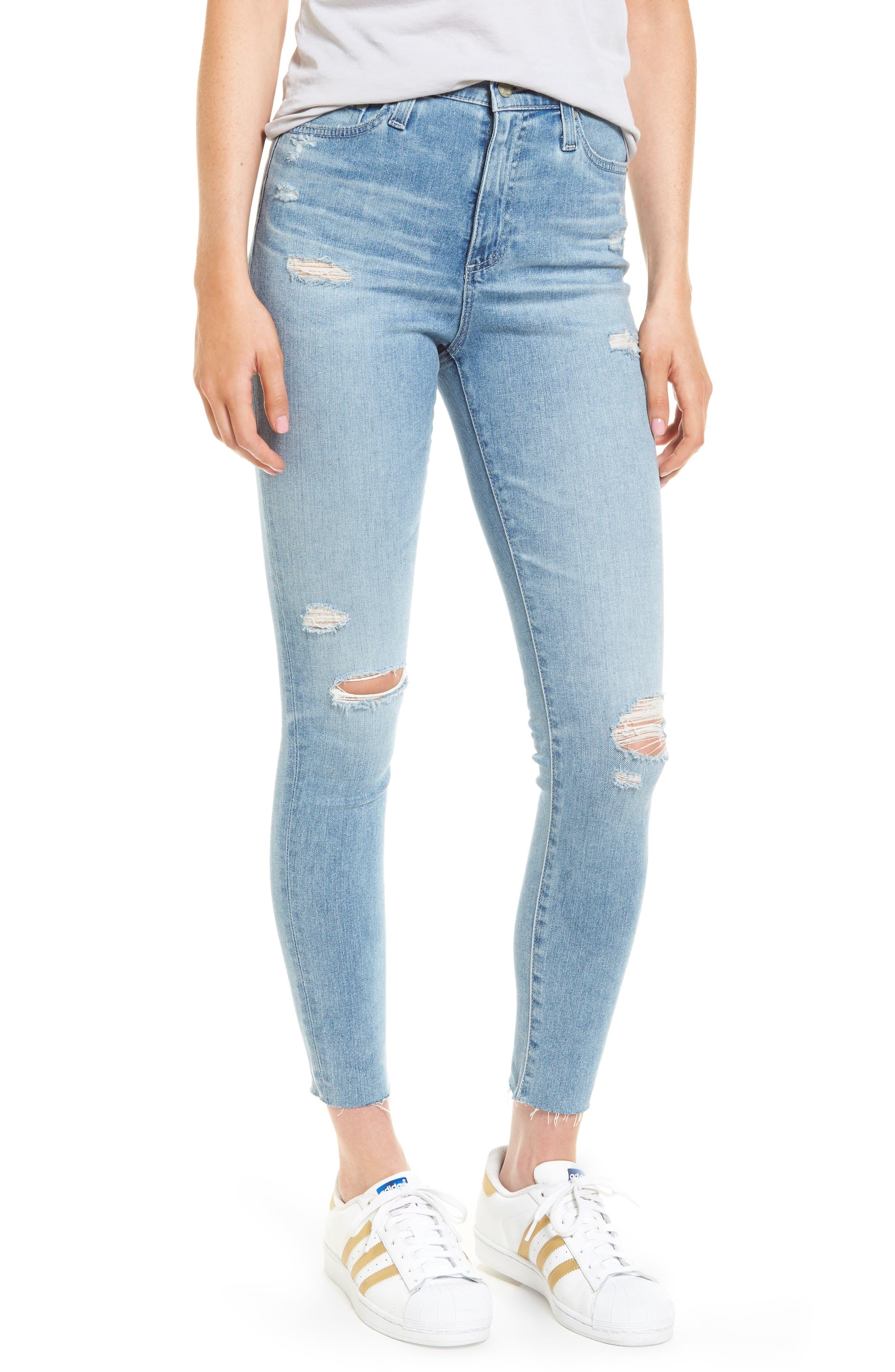 Mila High Waist Ankle Skinny Jeans,                             Main thumbnail 1, color,                             20 Years-Oceana Destructed