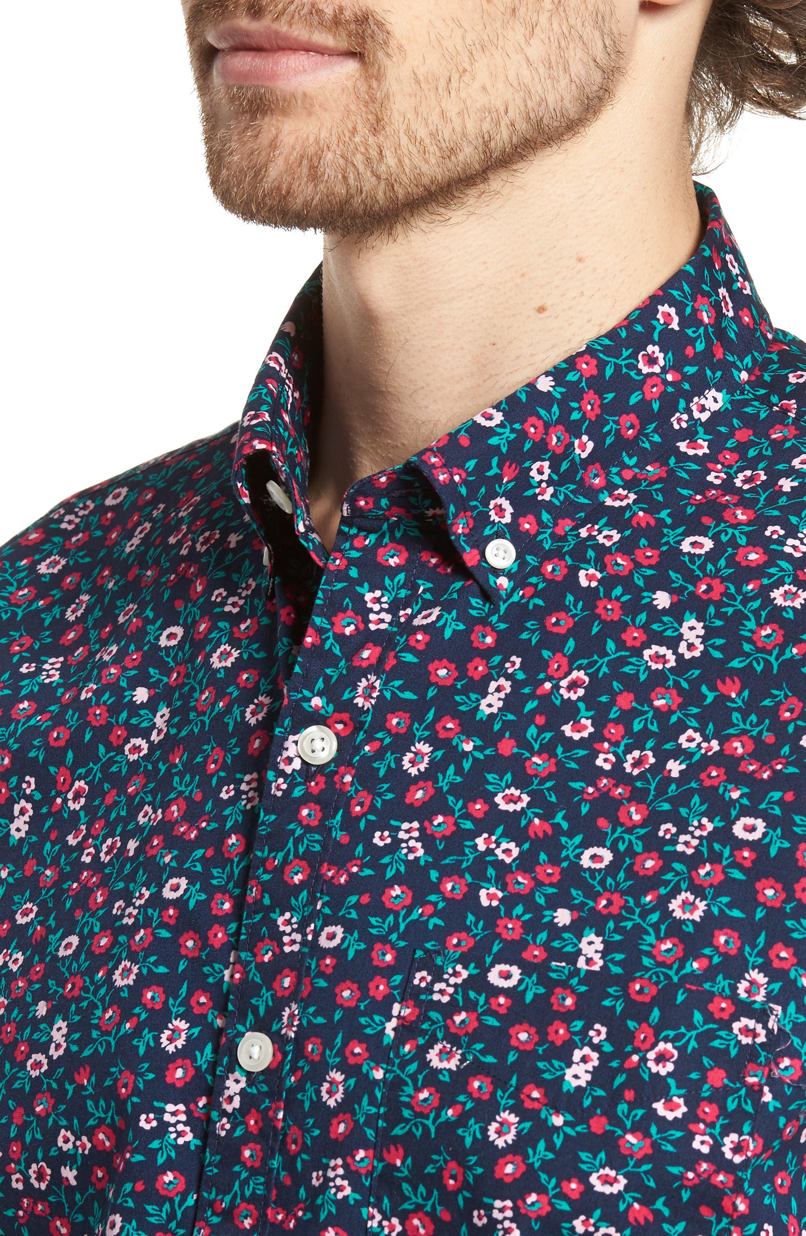 Slim Fit Print Short Sleeve Sport Shirt,                             Alternate thumbnail 2, color,                             Whitecap Floral - Red
