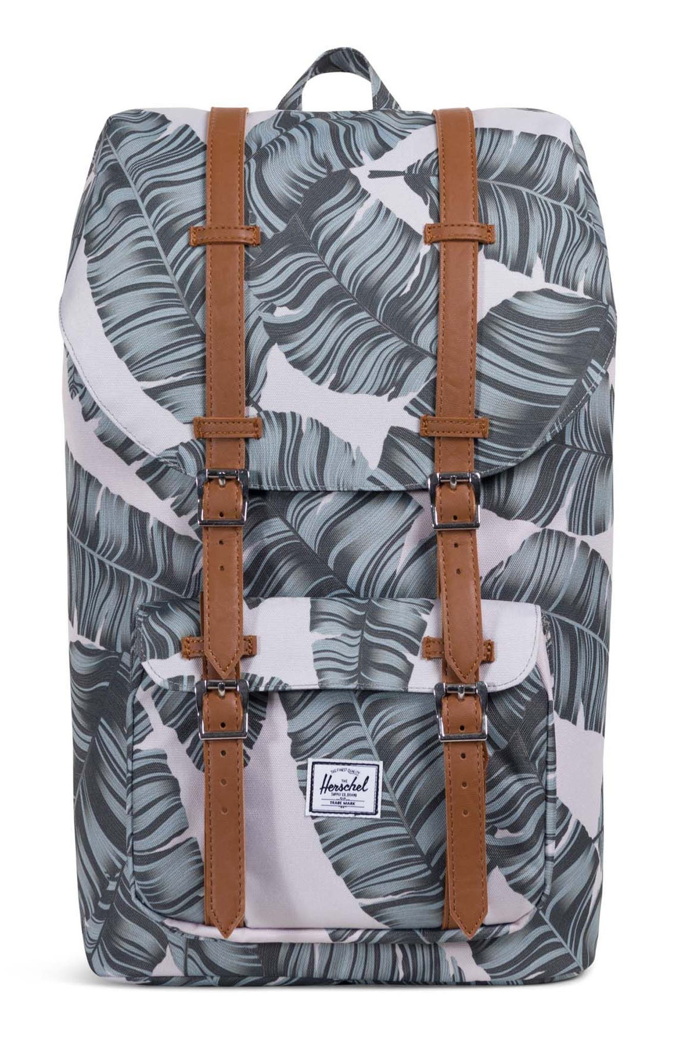 'Little America' Backpack,                             Main thumbnail 1, color,                             Silver Birch Palm/ Tan
