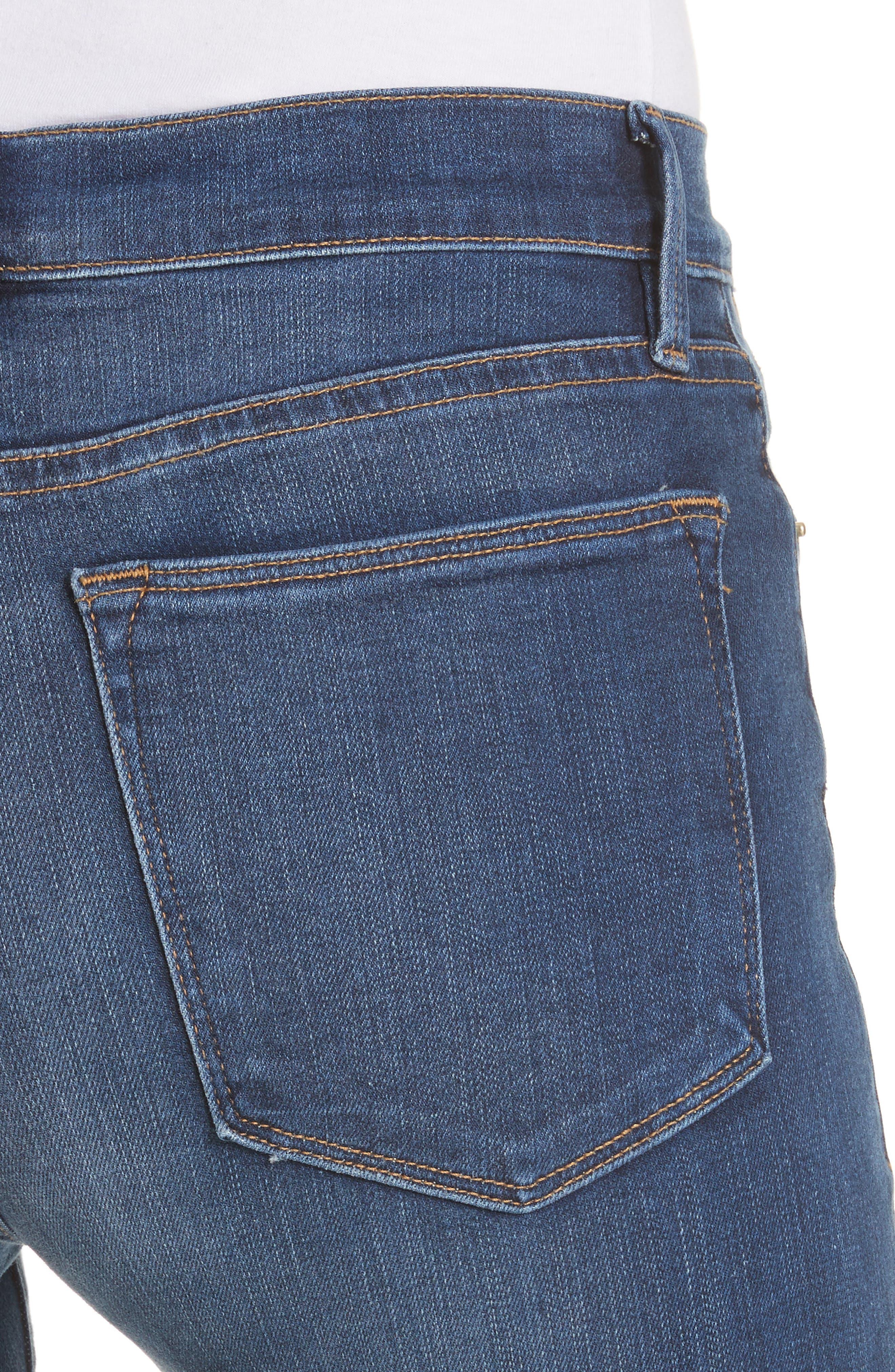 Le High Crop Straight Leg Jeans,                             Alternate thumbnail 4, color,                             Baynes Court