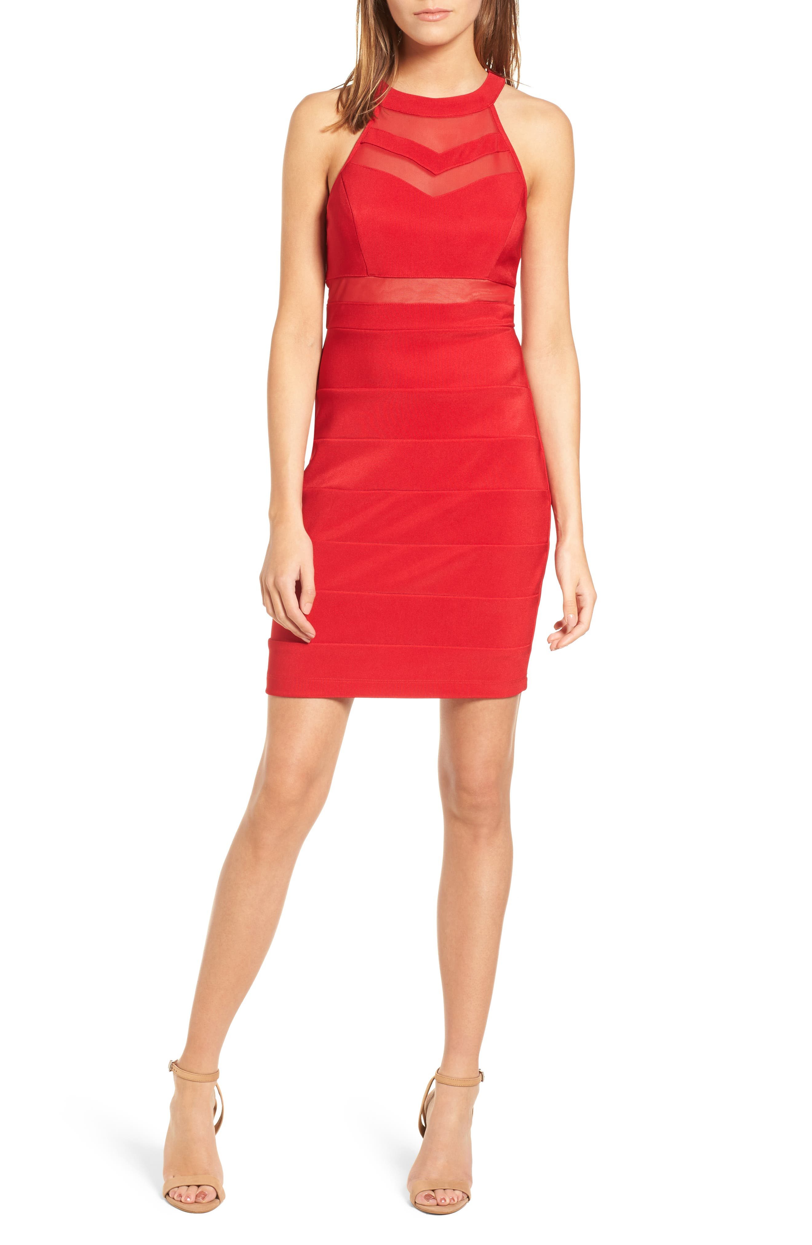 Illusion Body-Con Dress,                             Main thumbnail 1, color,                             Red