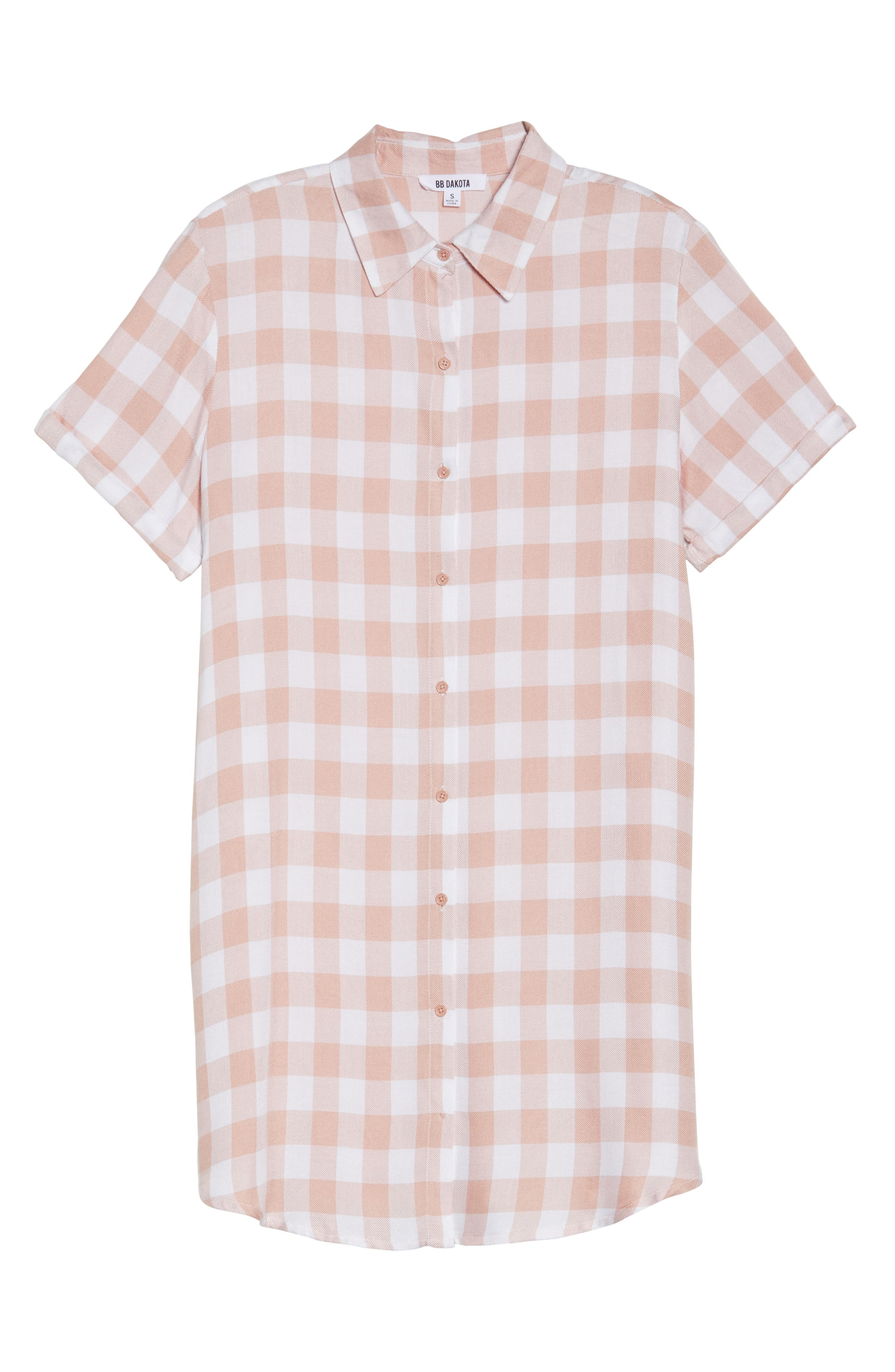 Cicely Plaid Shirtdress,                             Alternate thumbnail 6, color,                             Pink Lemonade