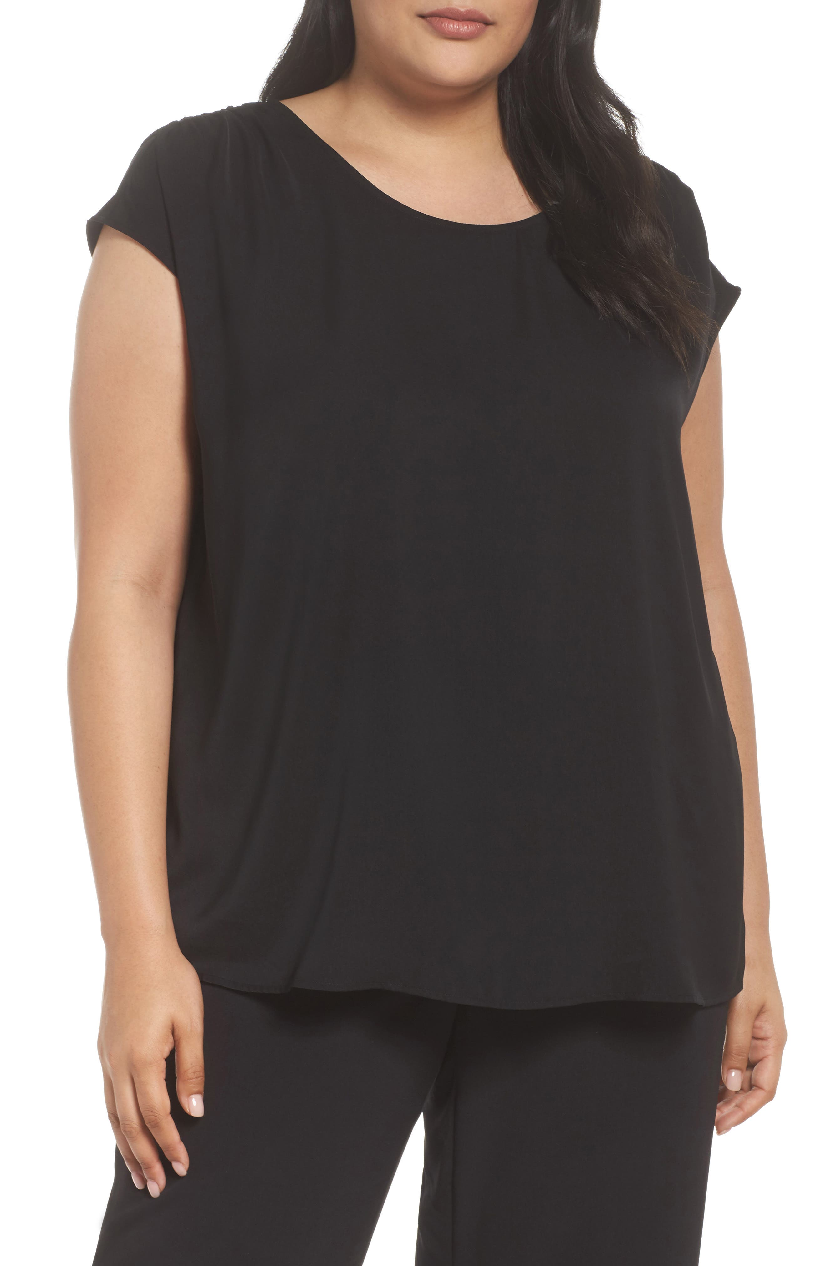 Ruched Shoulder Shell,                         Main,                         color, Black