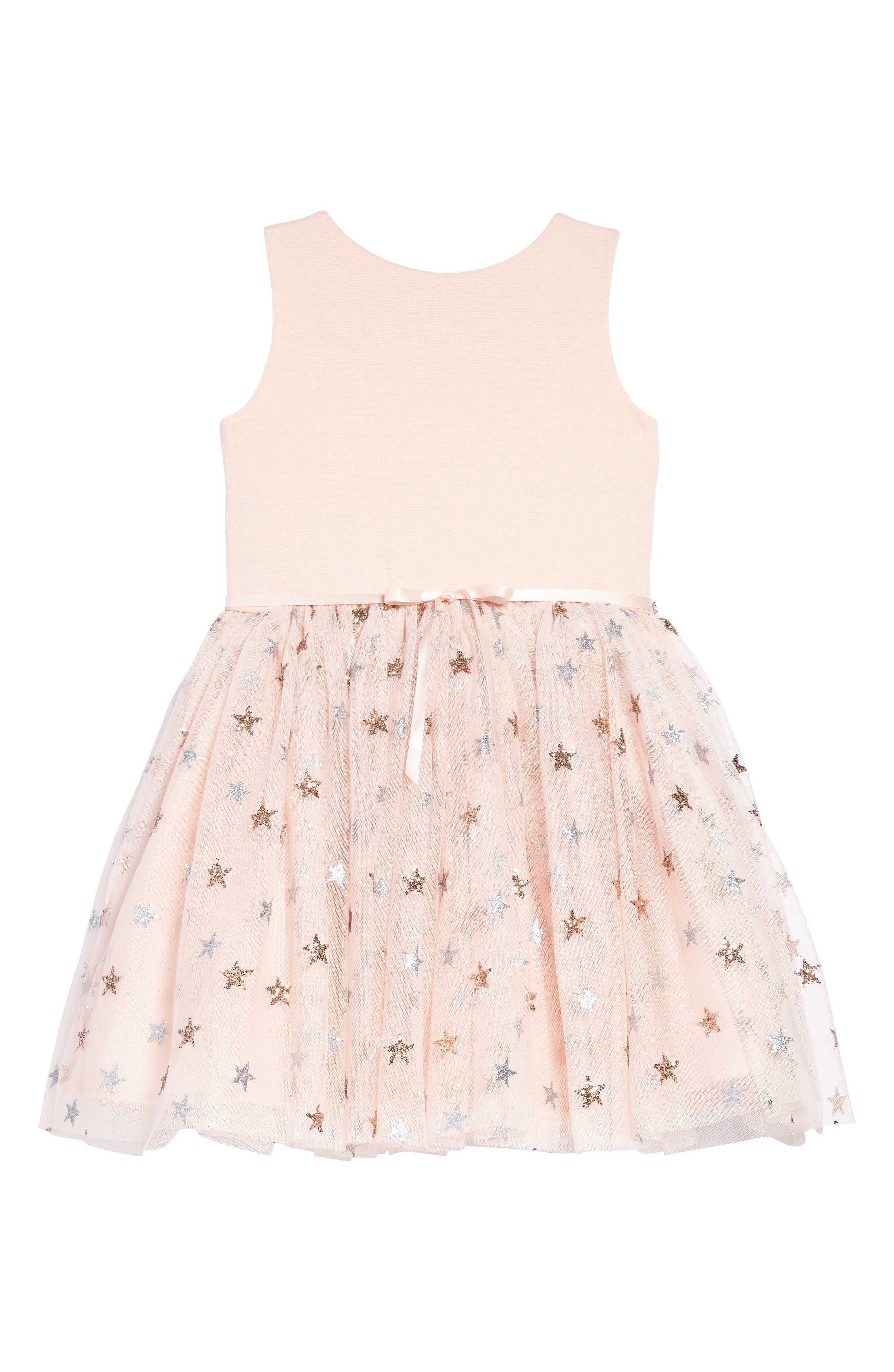 Glitter Star Ponte & Tulle Dress,                             Alternate thumbnail 2, color,                             Blush