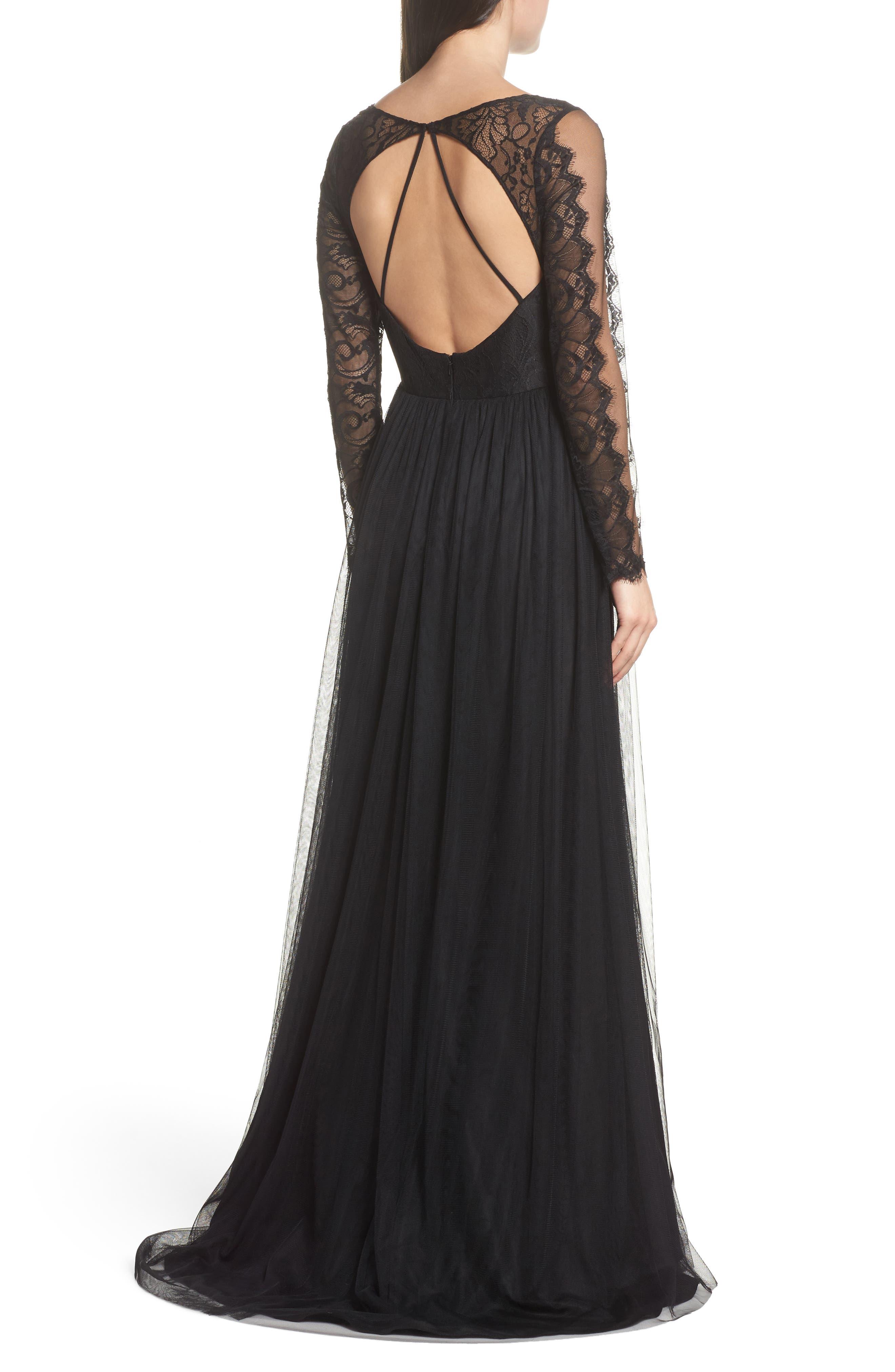 Open Back Lace & Net A-Line Gown,                             Alternate thumbnail 2, color,                             Black
