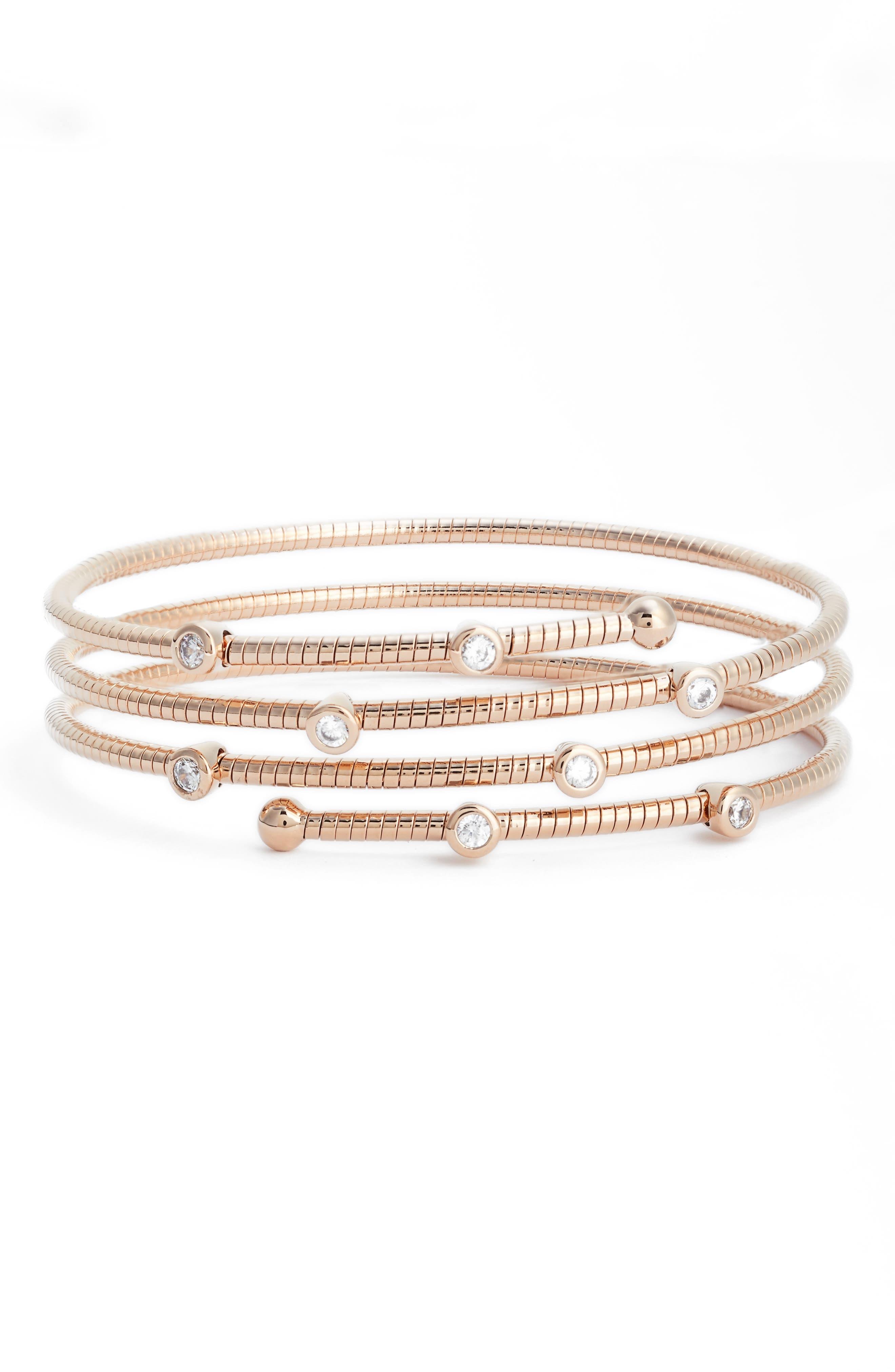 Cubic Zirconia Spiral Wrap Bracelet,                             Main thumbnail 1, color,                             Rose Gold/ Clear