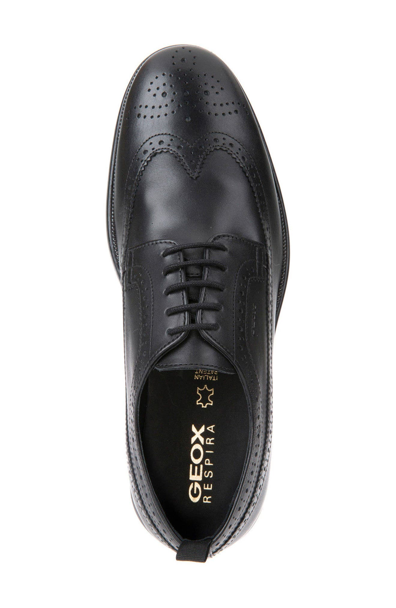 Winfred 3 Wingtip,                             Alternate thumbnail 5, color,                             Black Leather