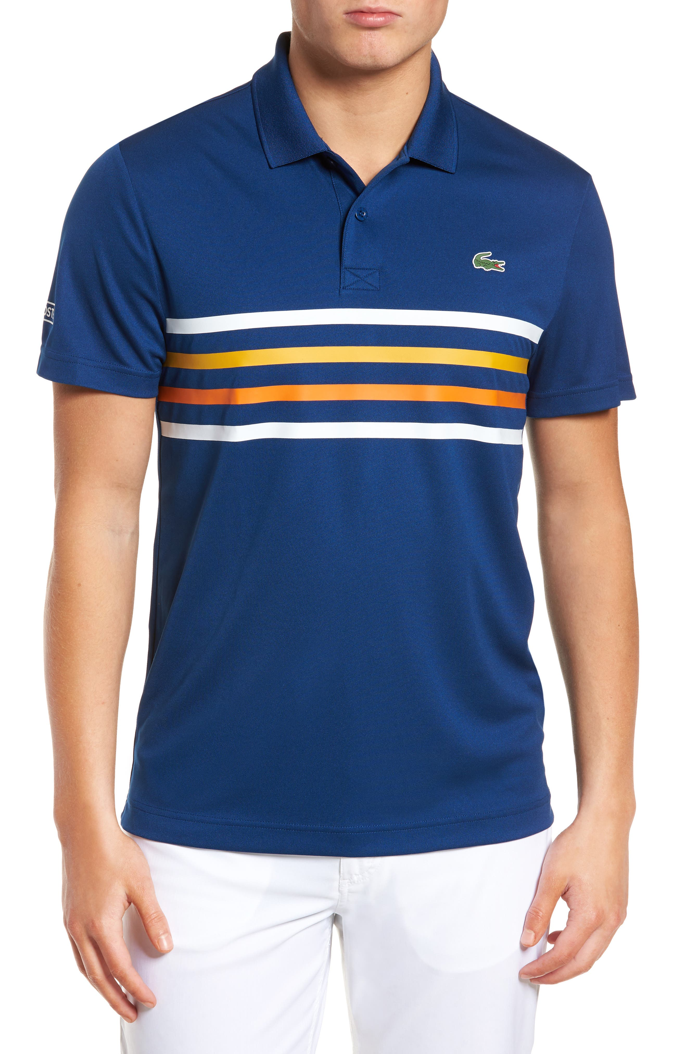 Sport Colored Bands Technical Piqué Tennis Polo,                         Main,                         color, Marino/ White-Buttercup