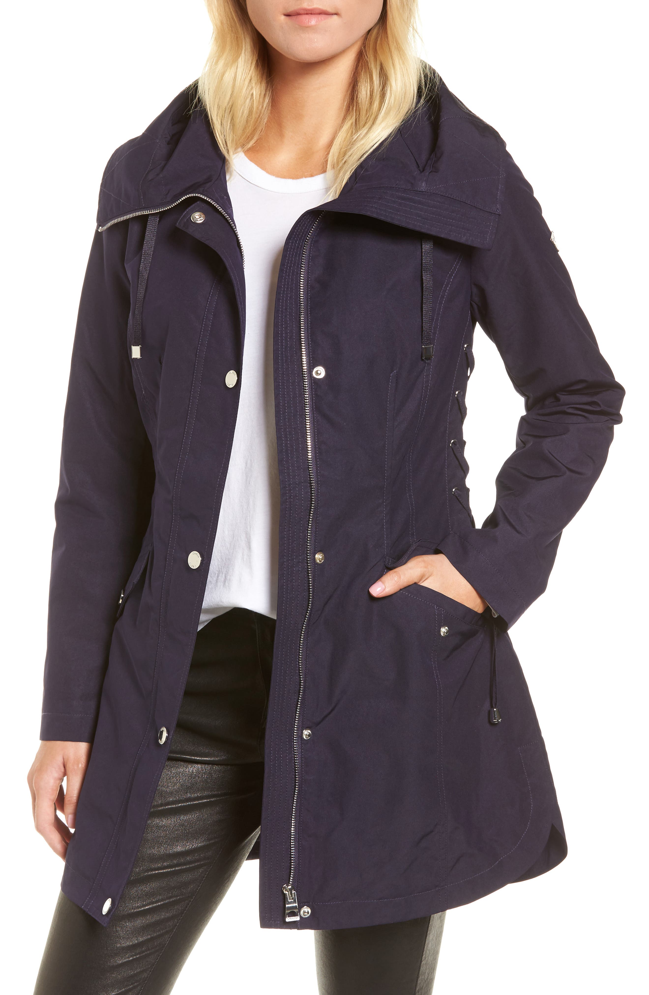 GUESS Side Lace-Up Hooded Trench Coat