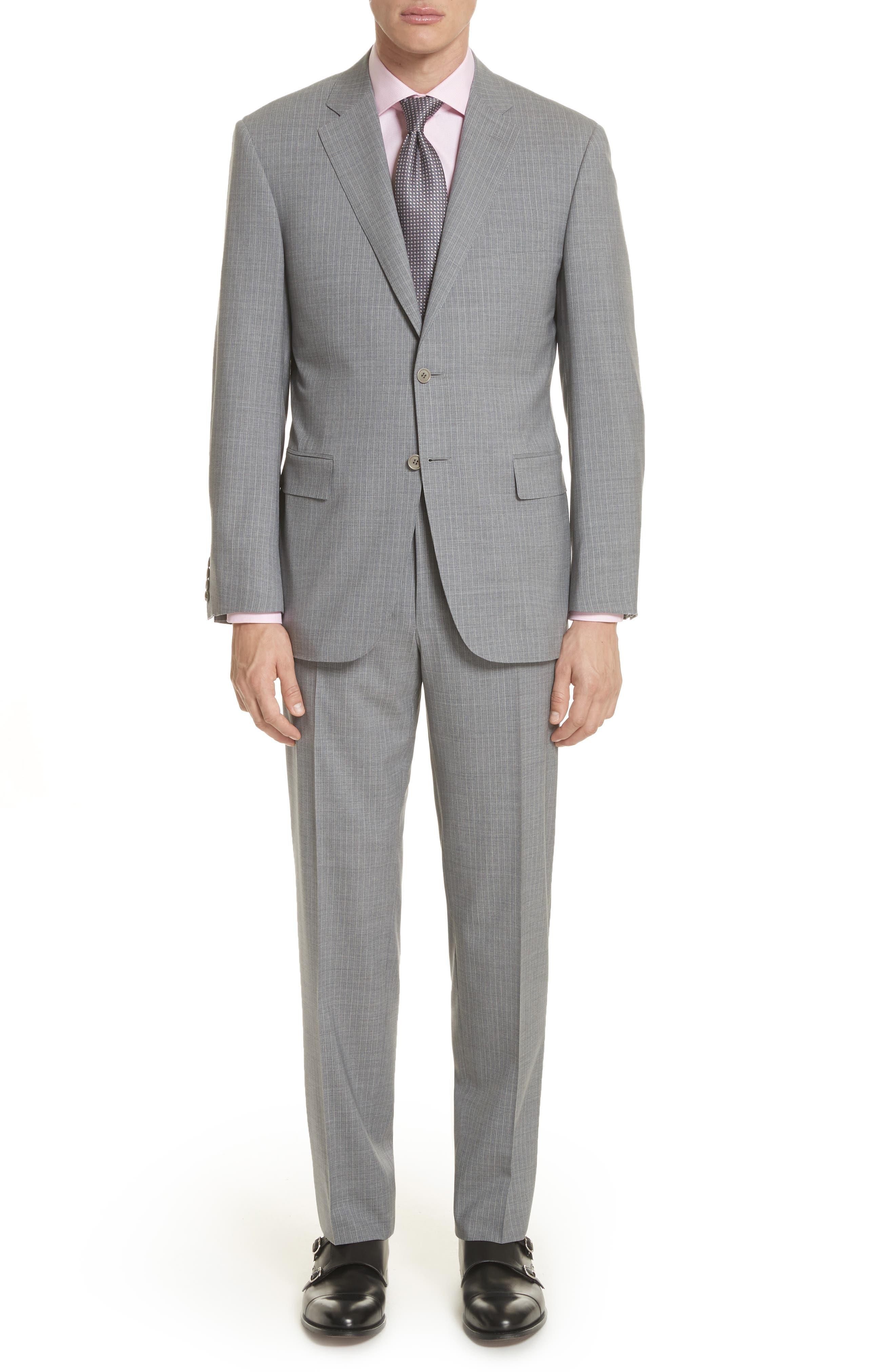 Classic Fit Stripe Wool Suit,                             Main thumbnail 1, color,                             Grey