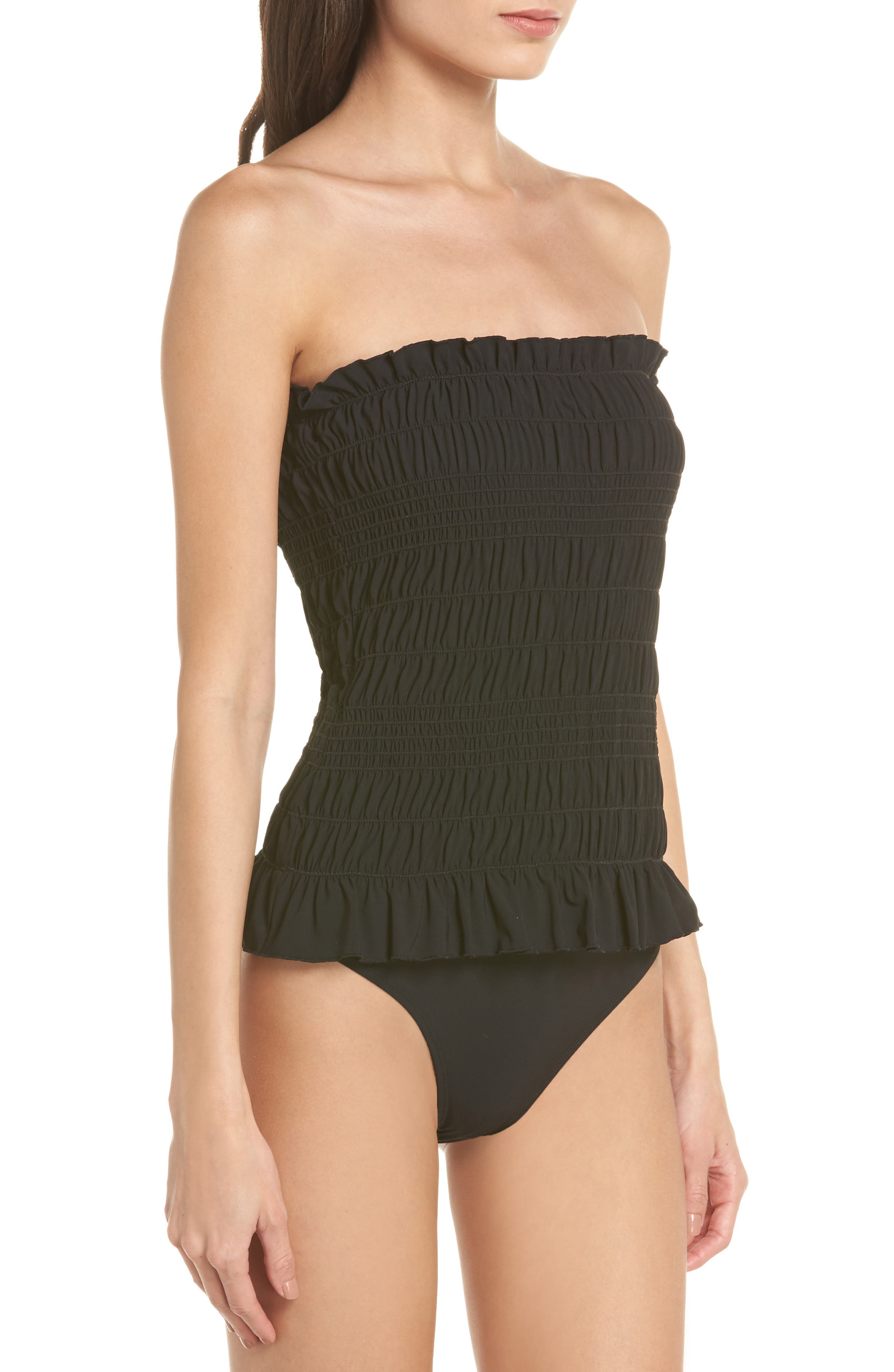 Costa Smocked One-Piece Swimsuit,                             Alternate thumbnail 4, color,                             Black / Black