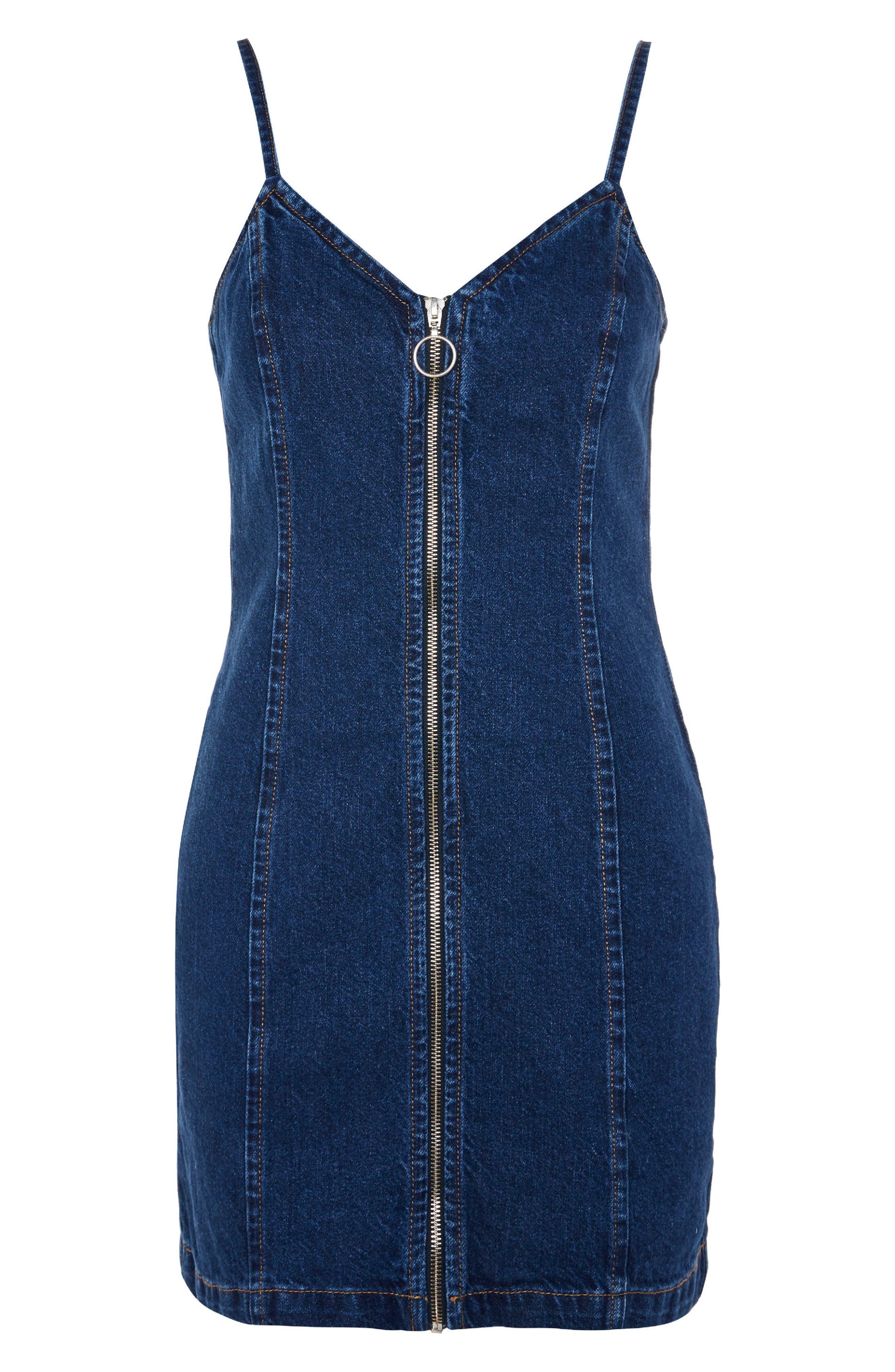 Zip Through Denim Body-Con Dress,                             Alternate thumbnail 3, color,                             Mid Denim