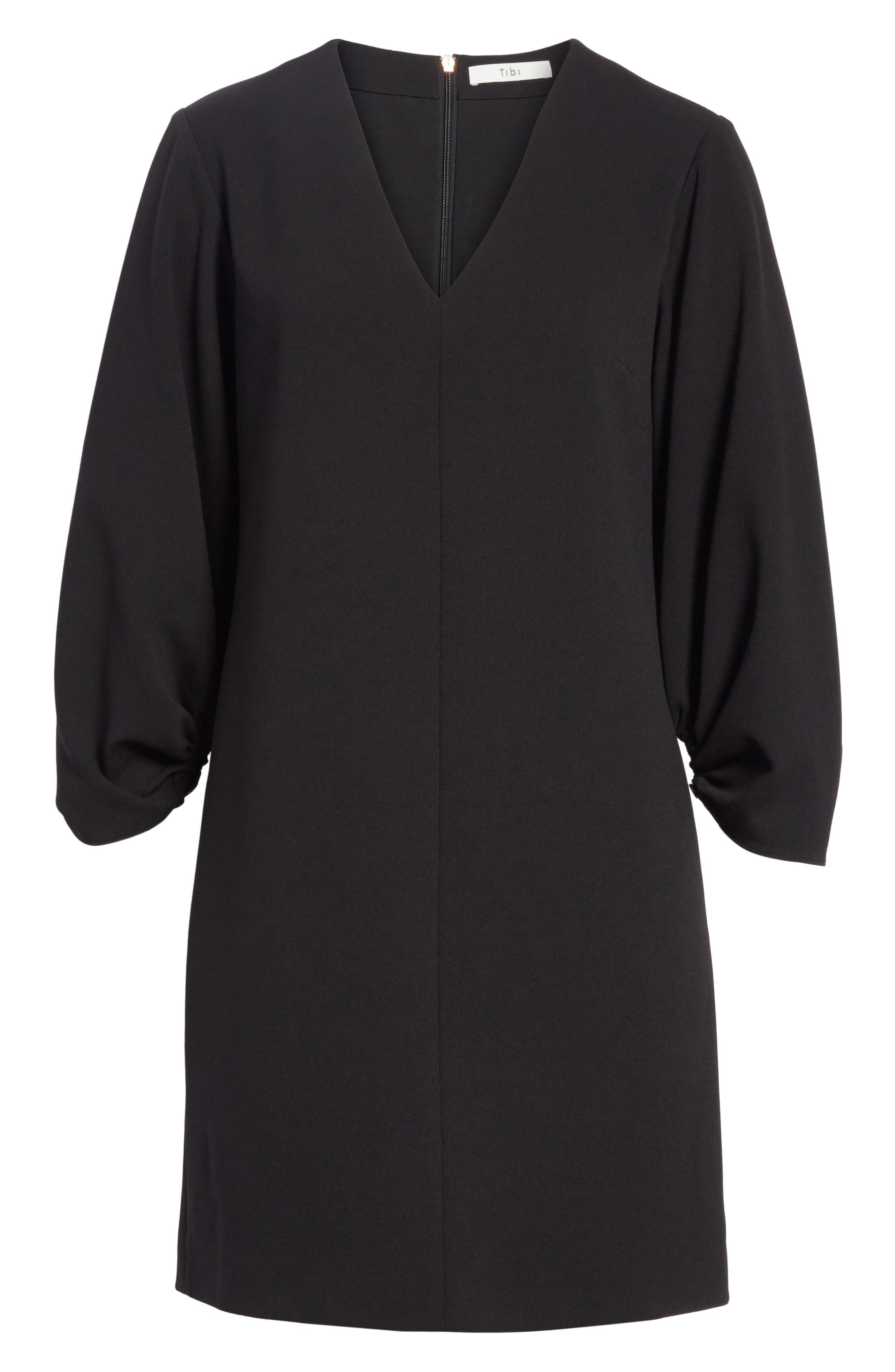 Crepe Balloon Sleeve Dress,                             Alternate thumbnail 6, color,                             Black