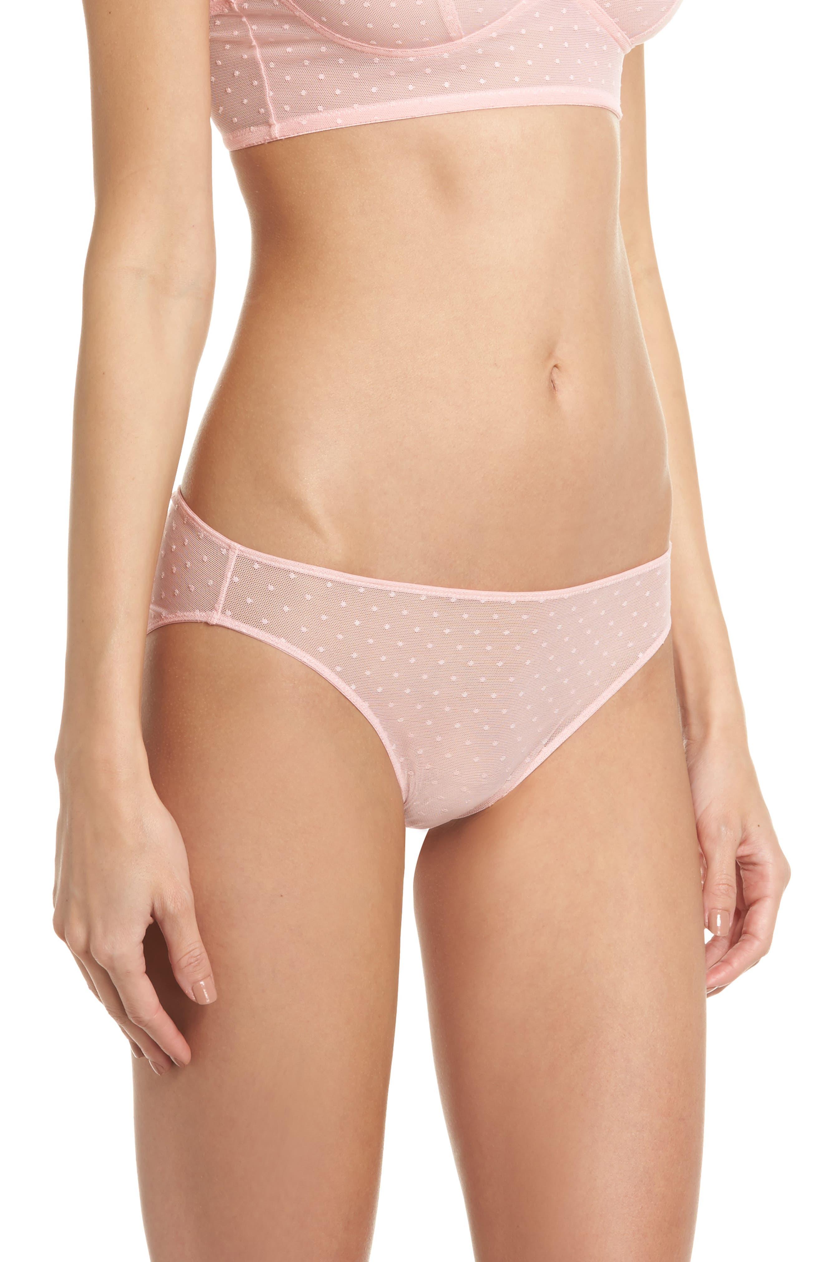Swiss Dot Bikini,                             Alternate thumbnail 3, color,                             Candy Pink