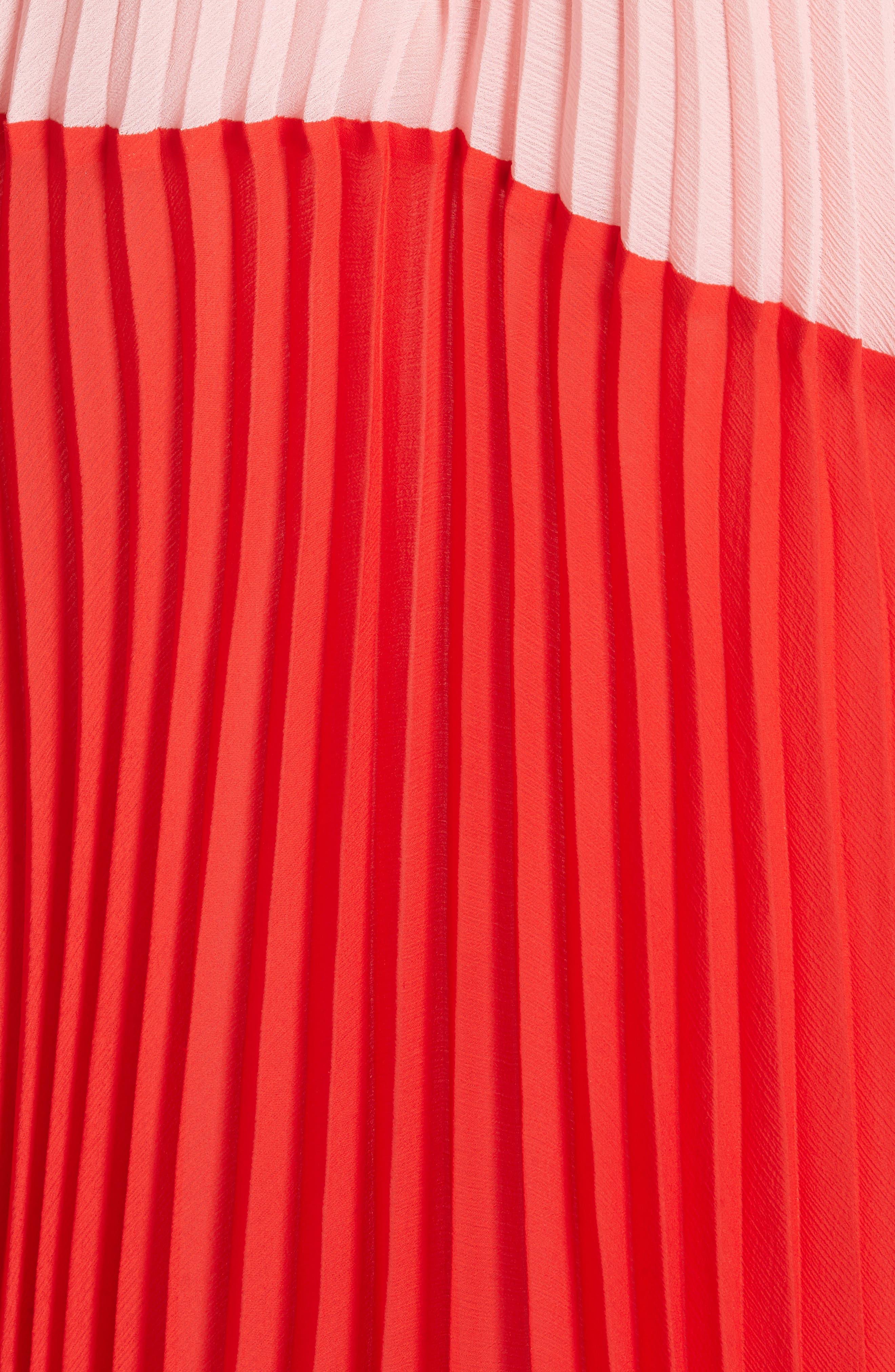 Rozlyn Pleat Colorblock Maxi Dress,                             Alternate thumbnail 5, color,                             Perfect Poppy/ Blossom