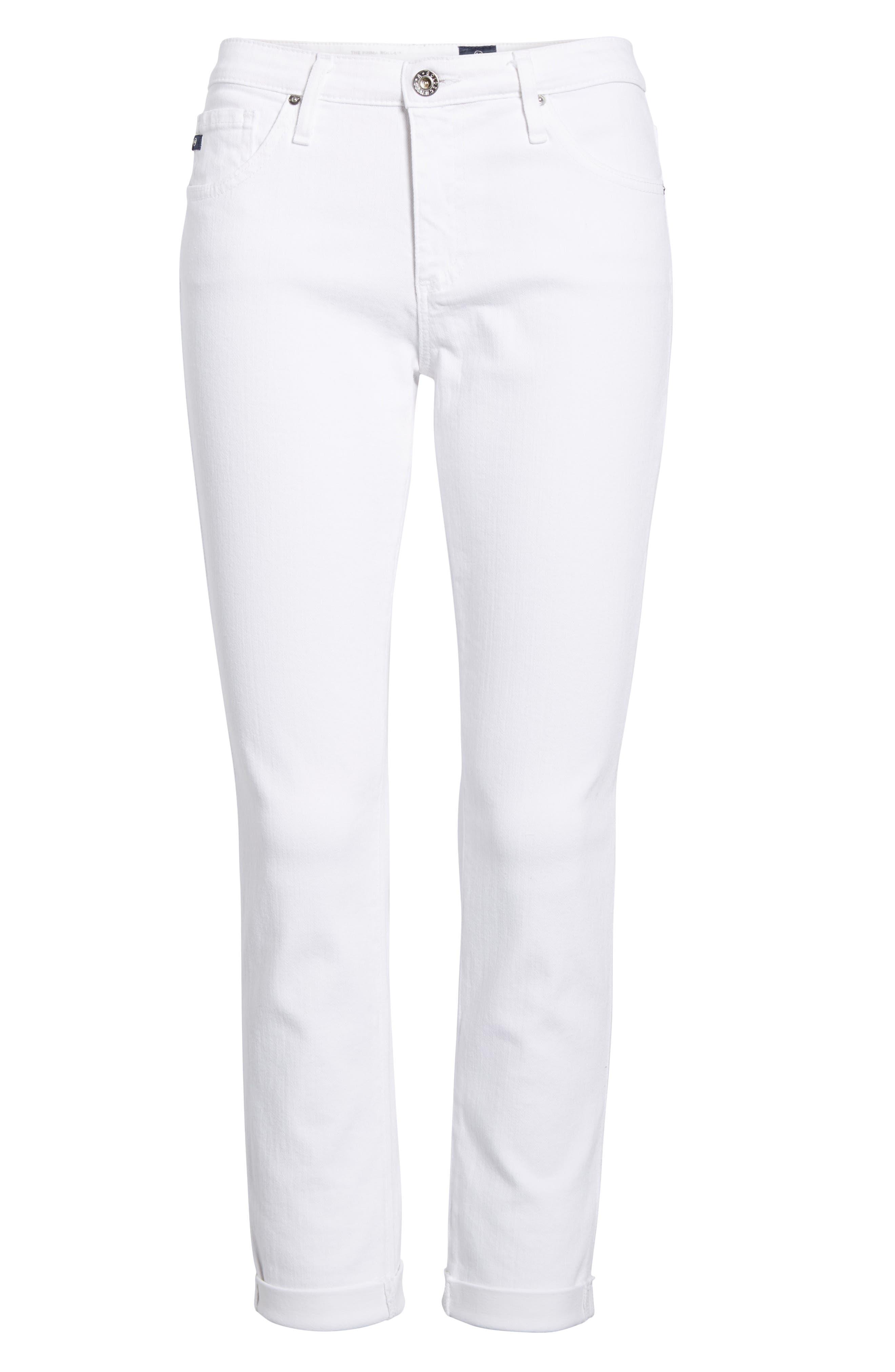 Prima Roll-Up Skinny Jeans,                             Alternate thumbnail 7, color,                             White