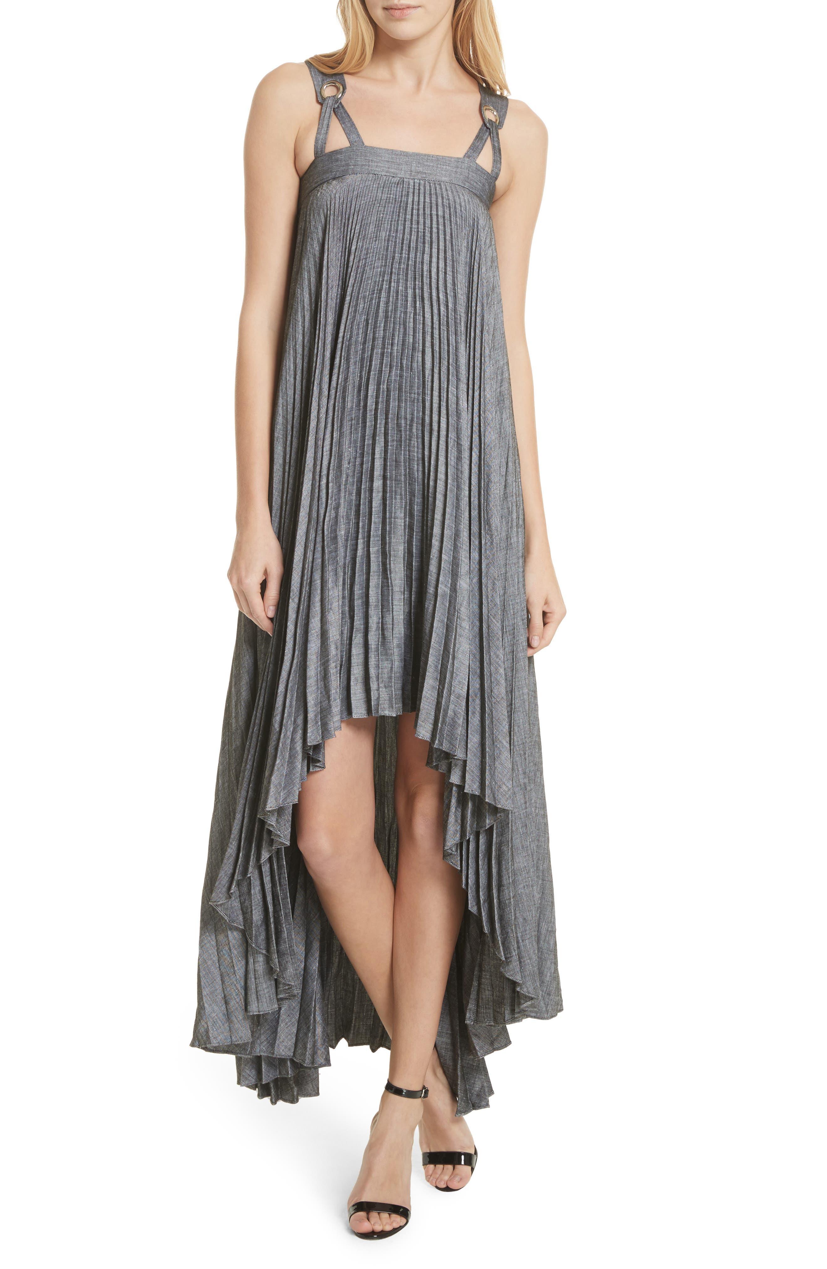 Sawyer High/Low Linen Blend Dress,                             Main thumbnail 1, color,                             Olive