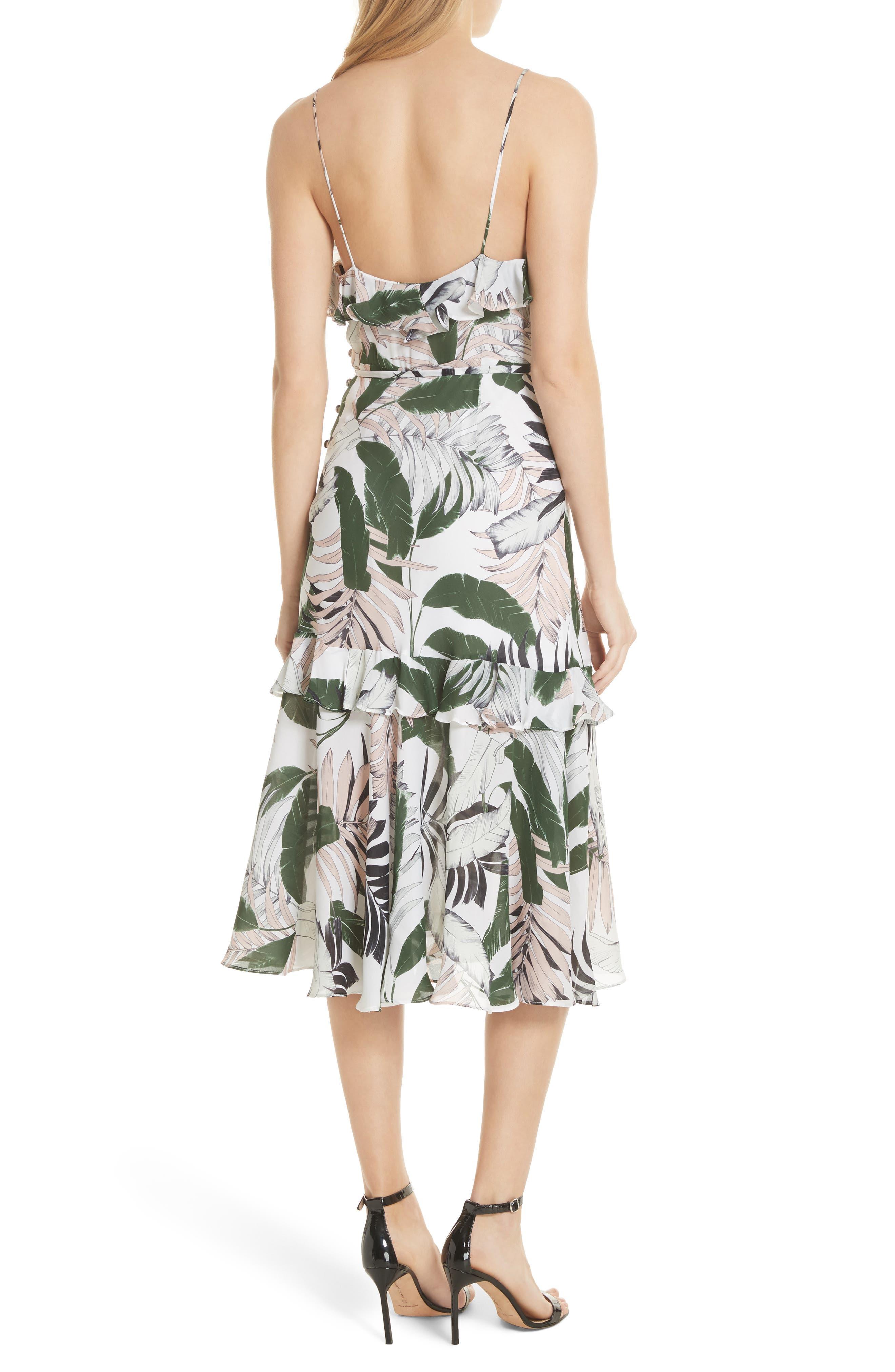 Petal Print Silk Midi Dress,                             Alternate thumbnail 2, color,                             Multi