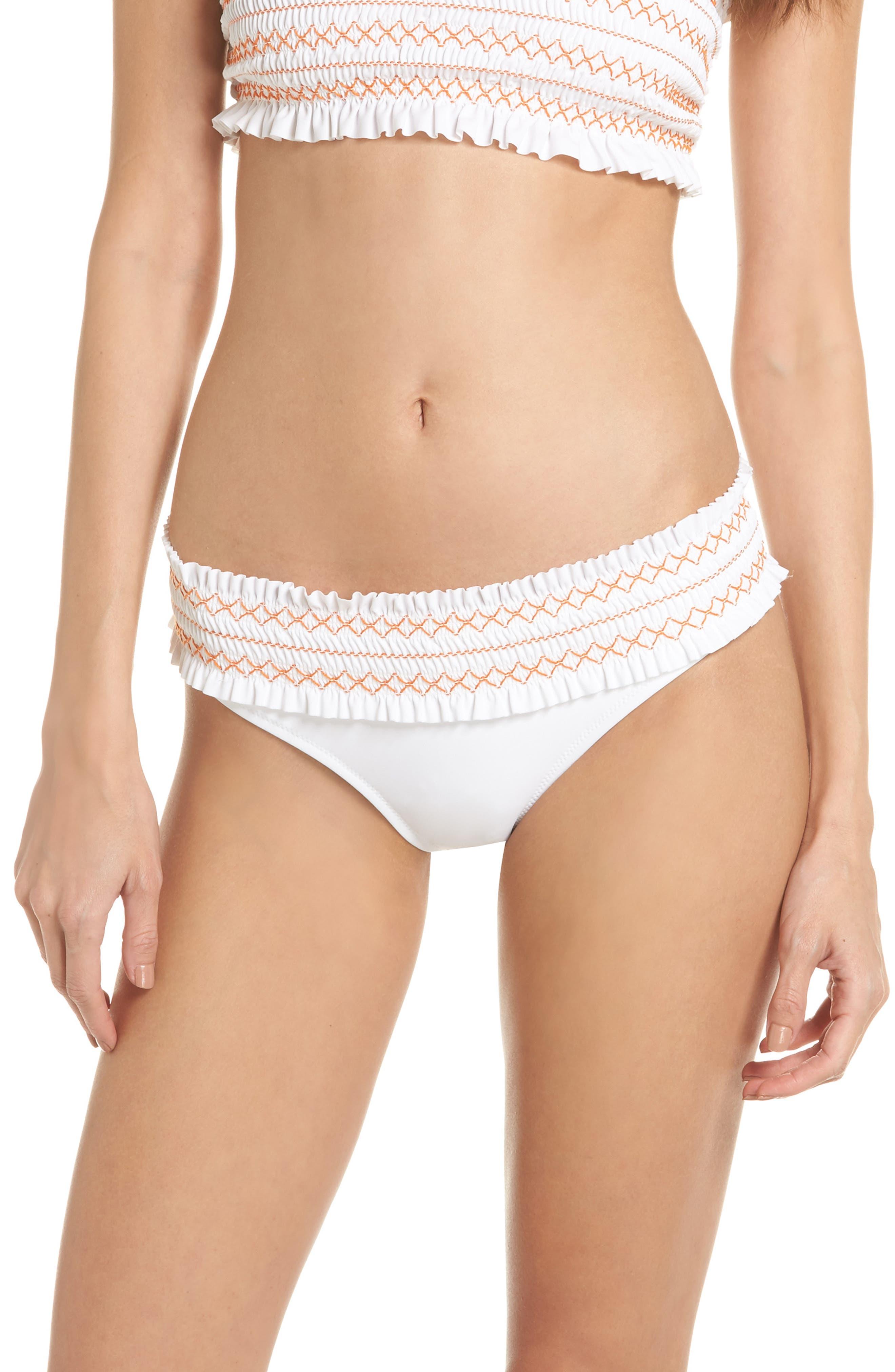 Main Image - Tory Burch Costa Smocked Hipster Bikini Bottoms