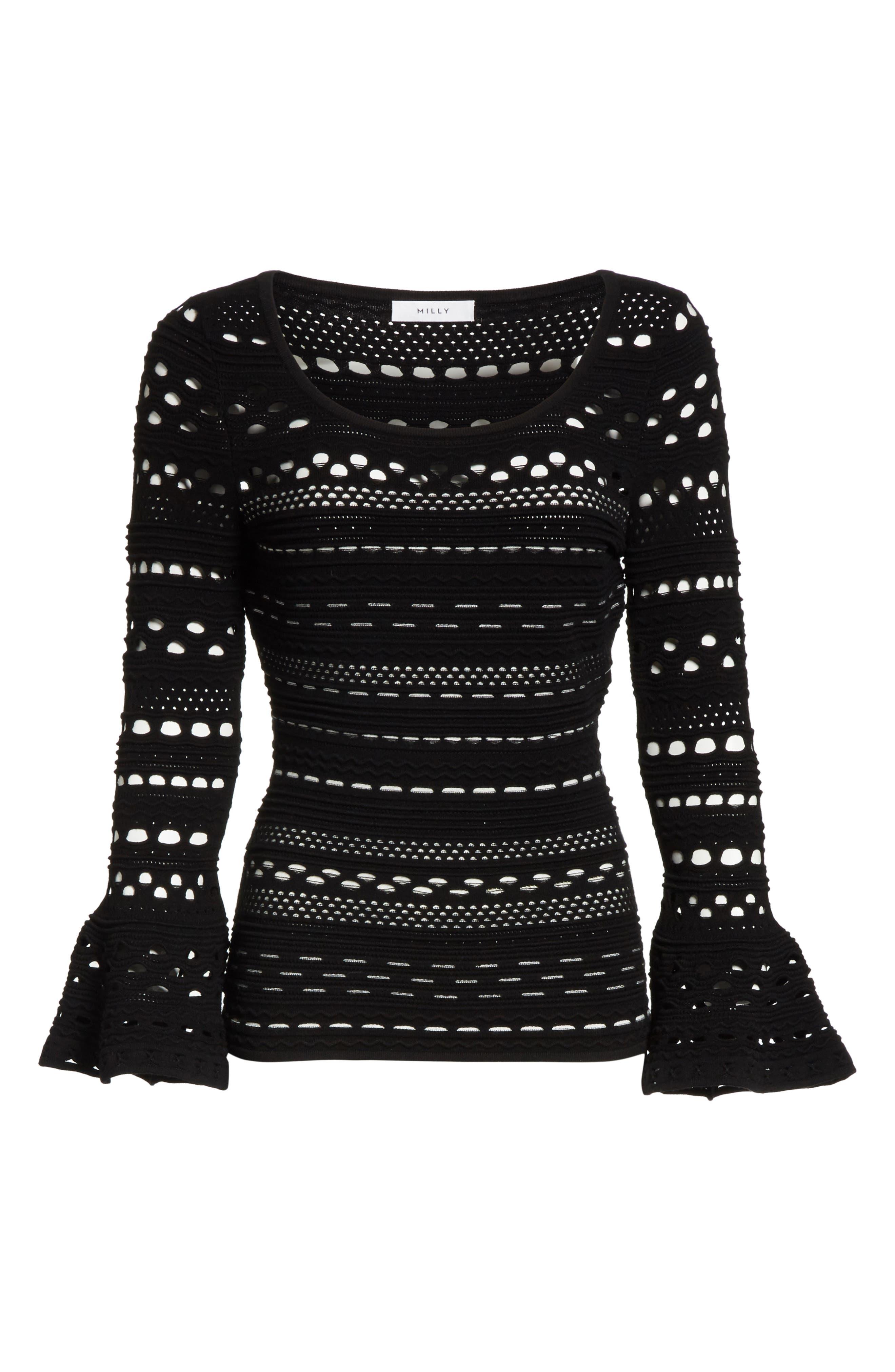 Lace Knit Top,                             Alternate thumbnail 6, color,                             Black/ White