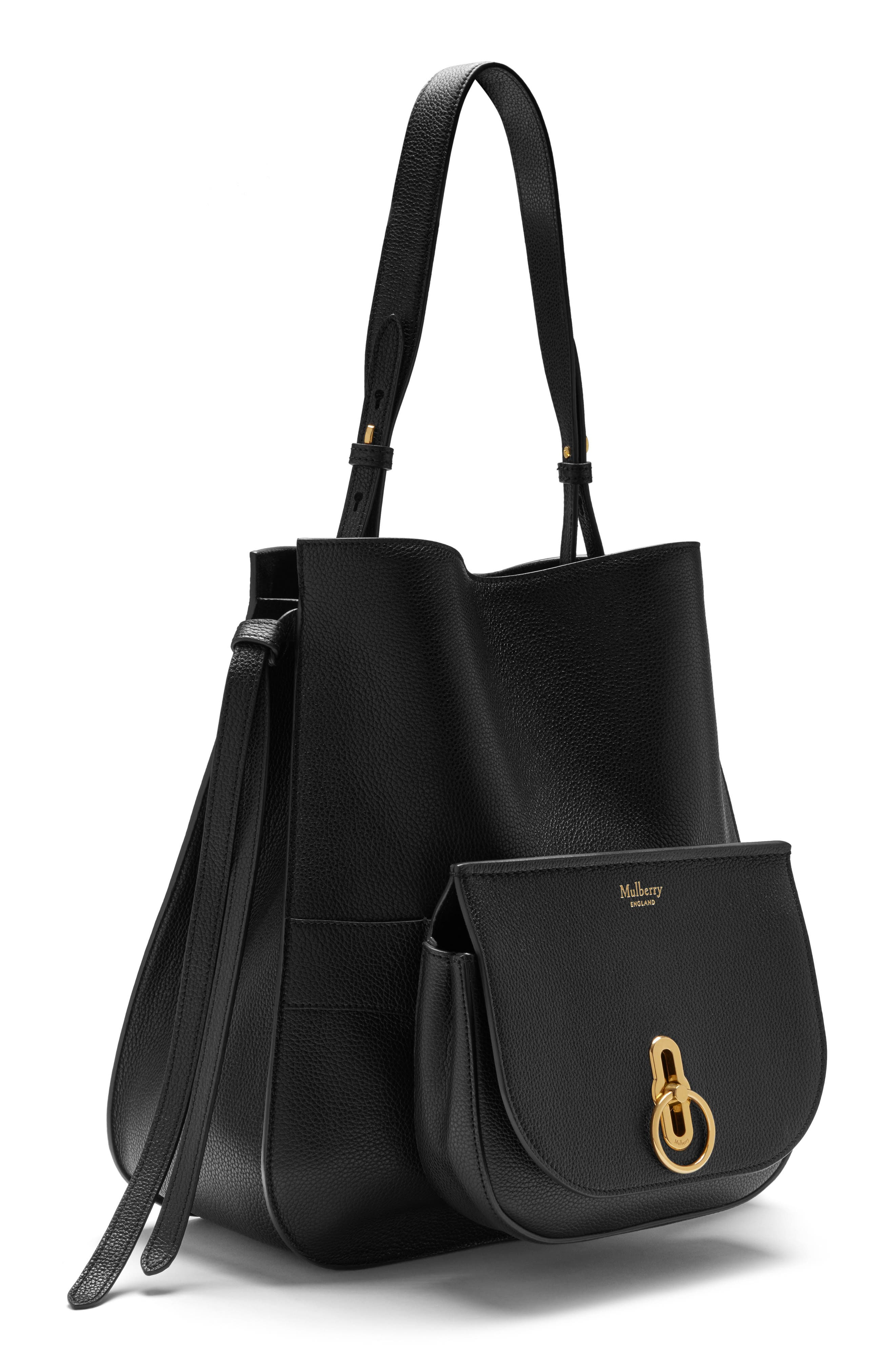 Amberley Leather Hobo,                             Alternate thumbnail 4, color,                             Black