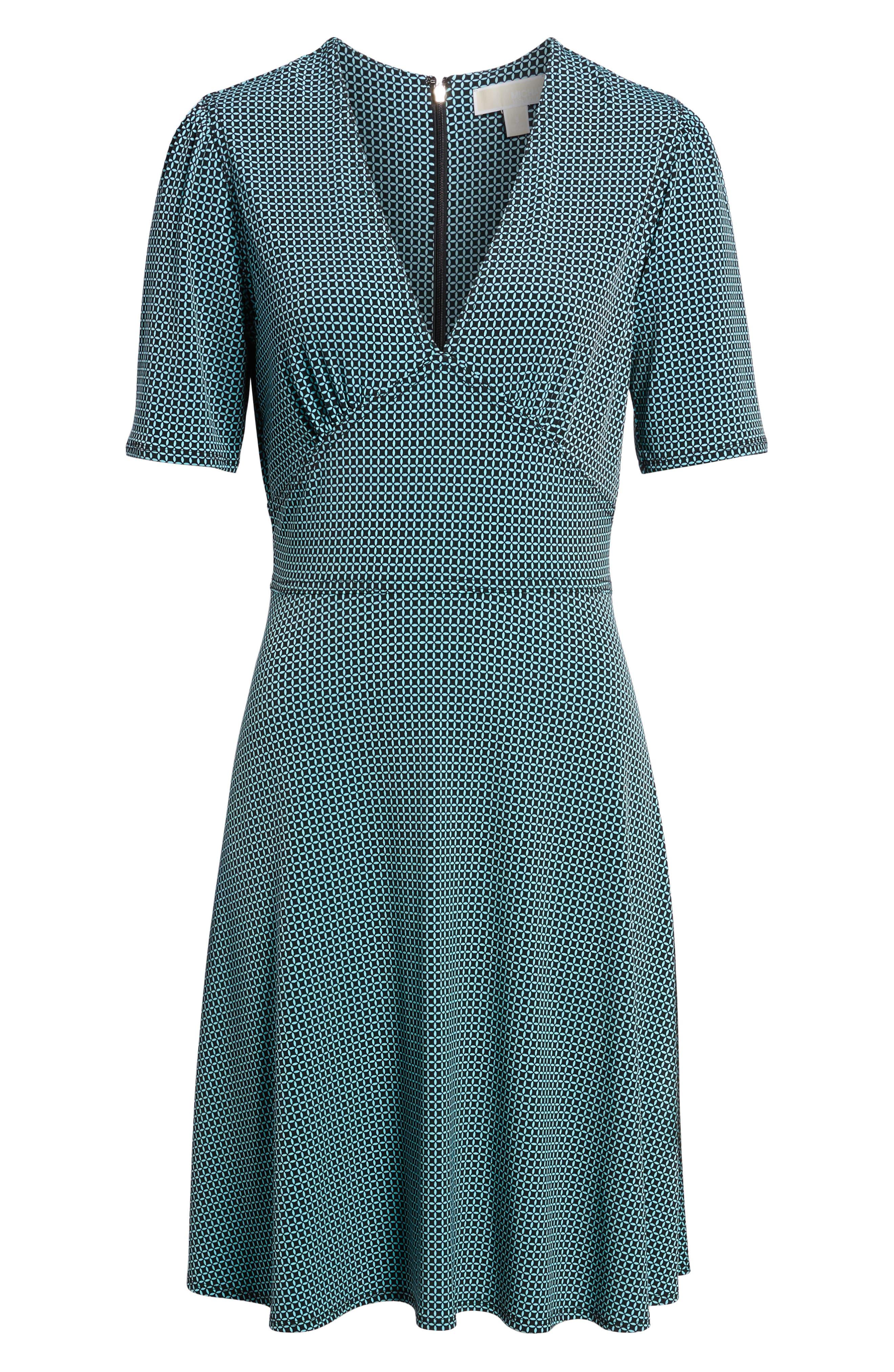 Mod Geo Fit & Flare Dress,                             Alternate thumbnail 6, color,                             Turquoise/ Black