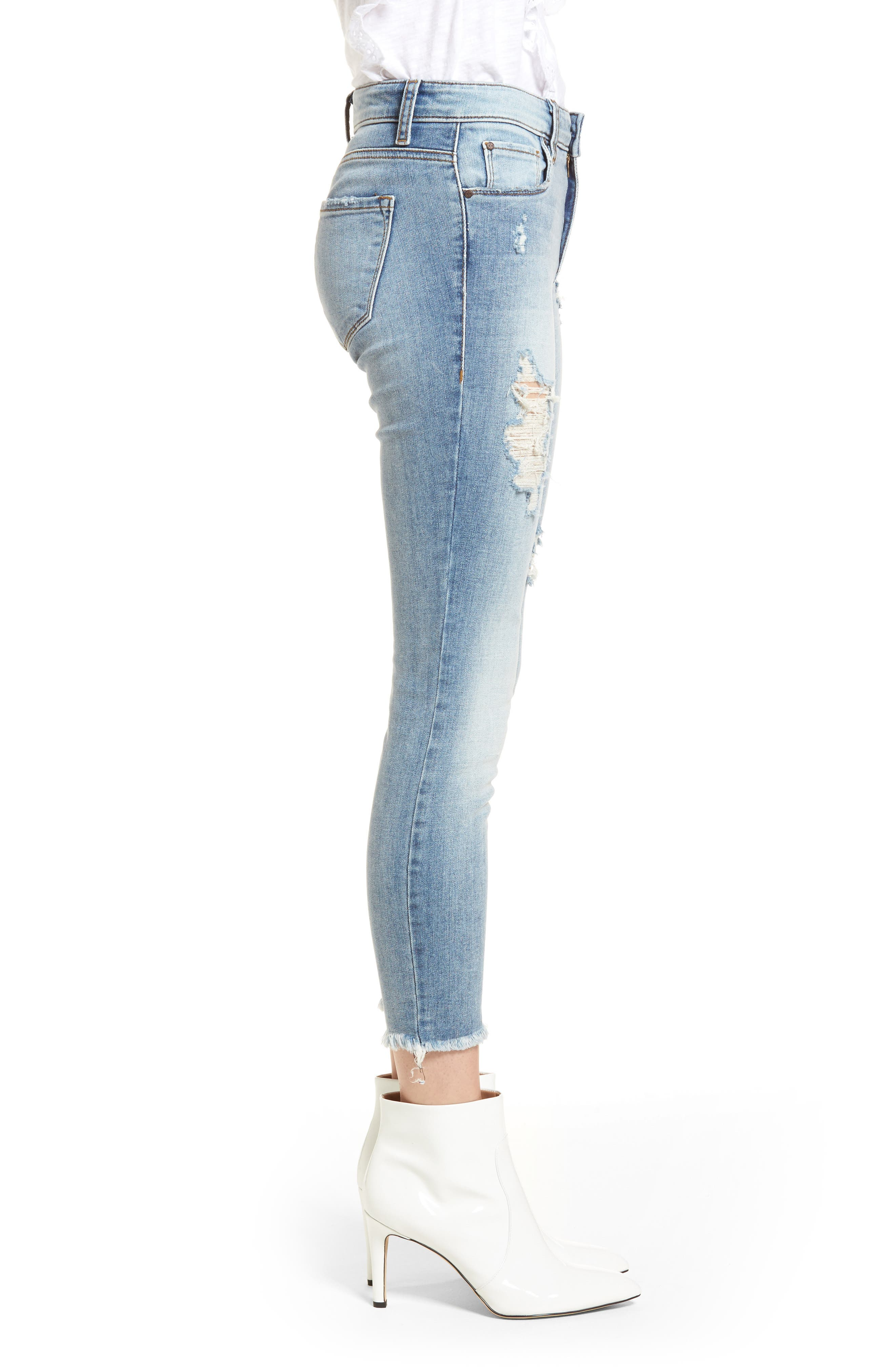 Emma Ripped Ankle Skinny Jeans,                             Alternate thumbnail 3, color,                             Medium Wash
