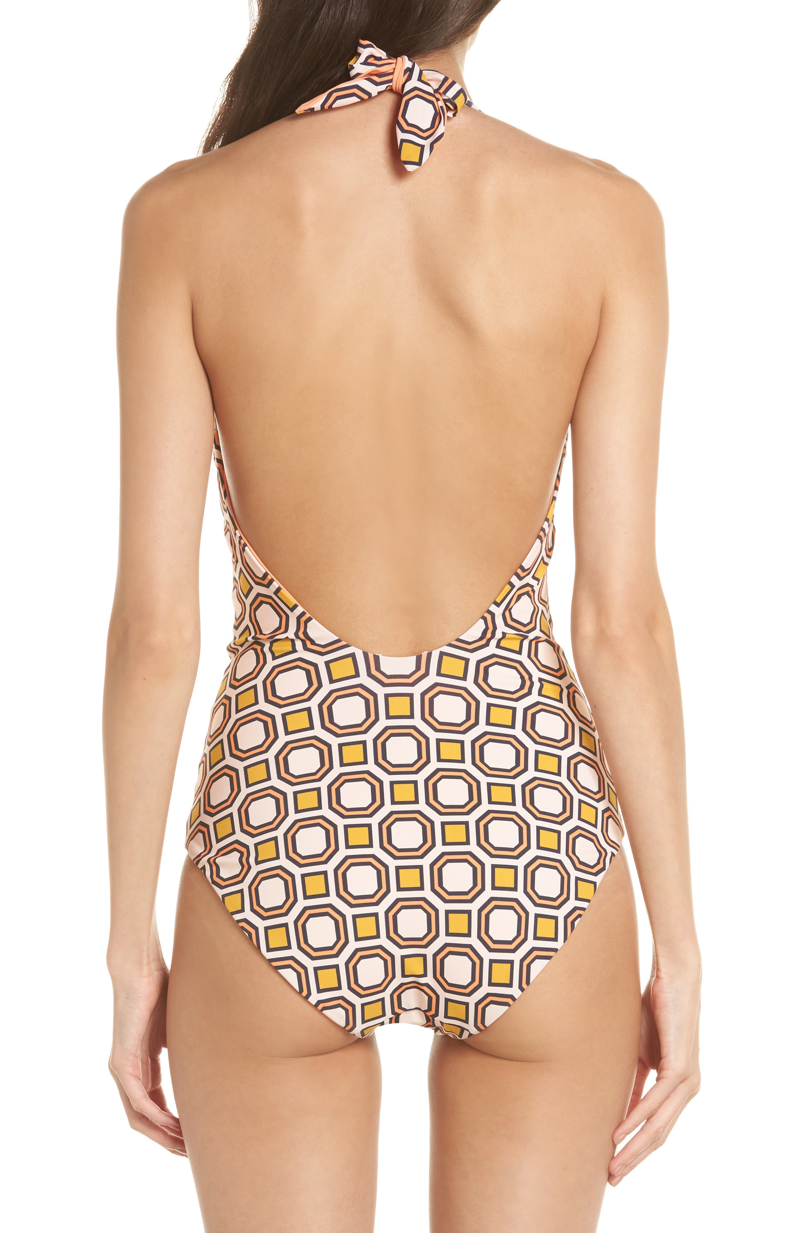 Biarritz Reversible One-Piece Swimsuit,                             Alternate thumbnail 2, color,                             Fresh Melon / Octagon Square