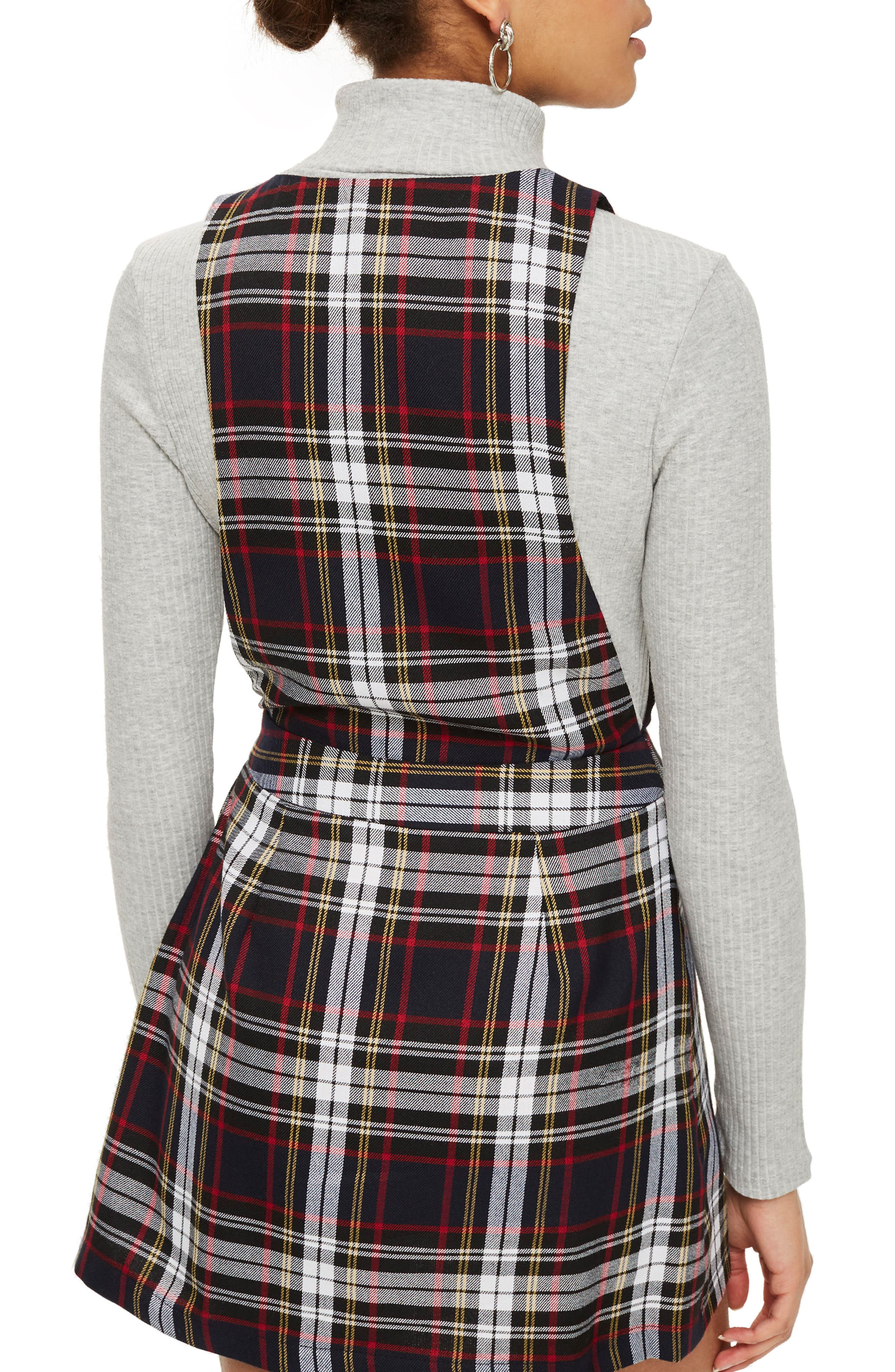 Tartan Pinafore Minidress,                             Alternate thumbnail 2, color,                             Black Multi