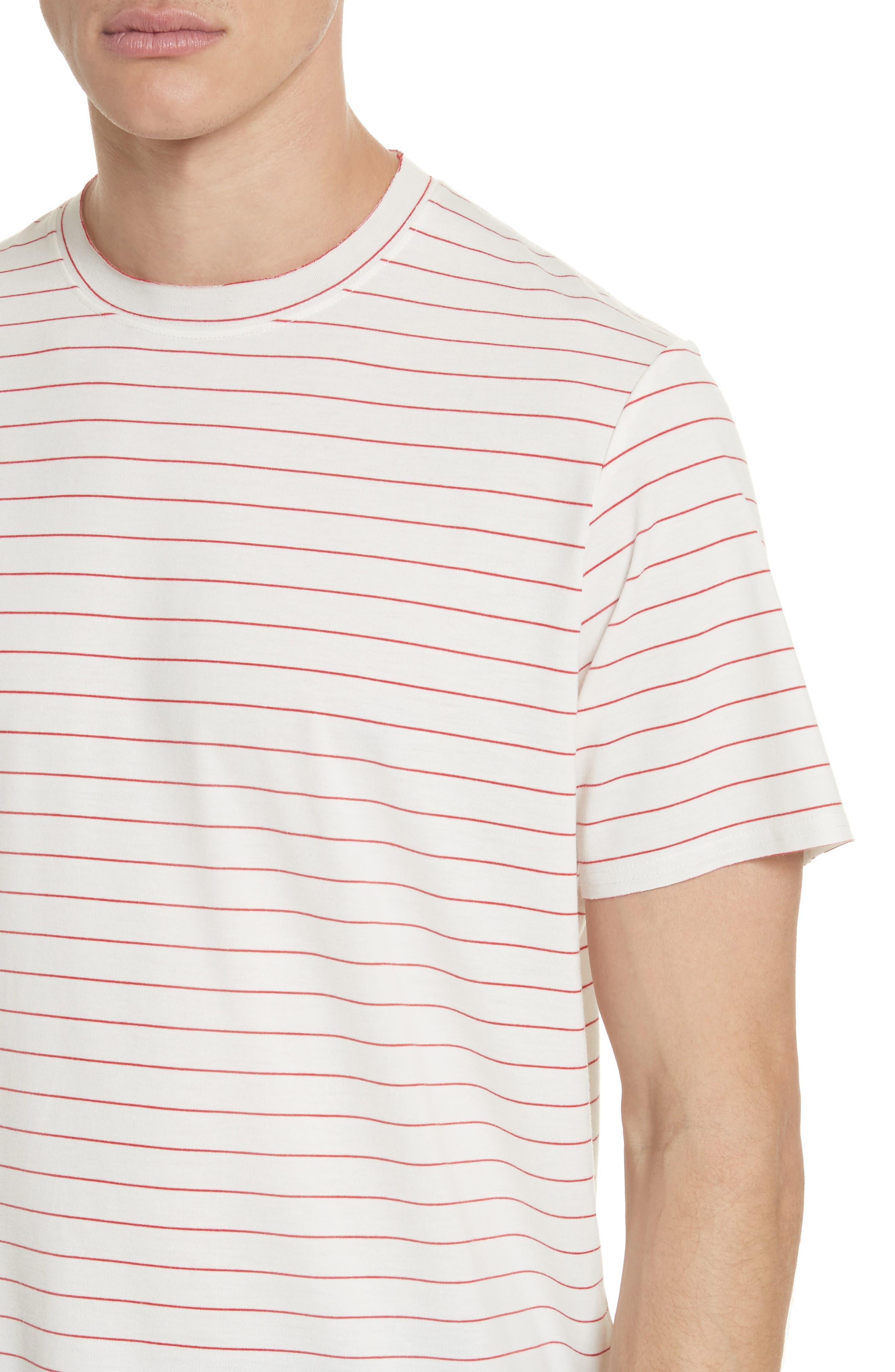 Stripe Crewneck T-Shirt,                             Alternate thumbnail 4, color,                             White/ Red